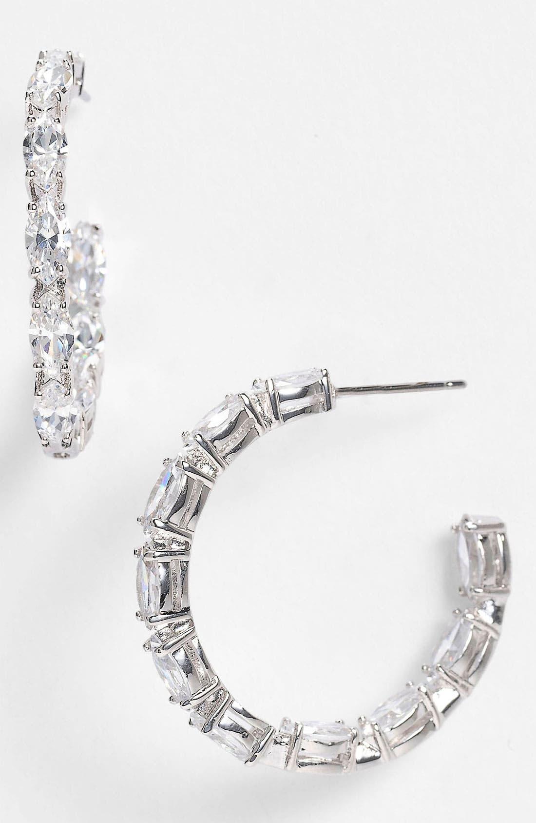 Alternate Image 1 Selected - Nadri Cubic Zirconia Cluster Inside Out Hoop Earrings