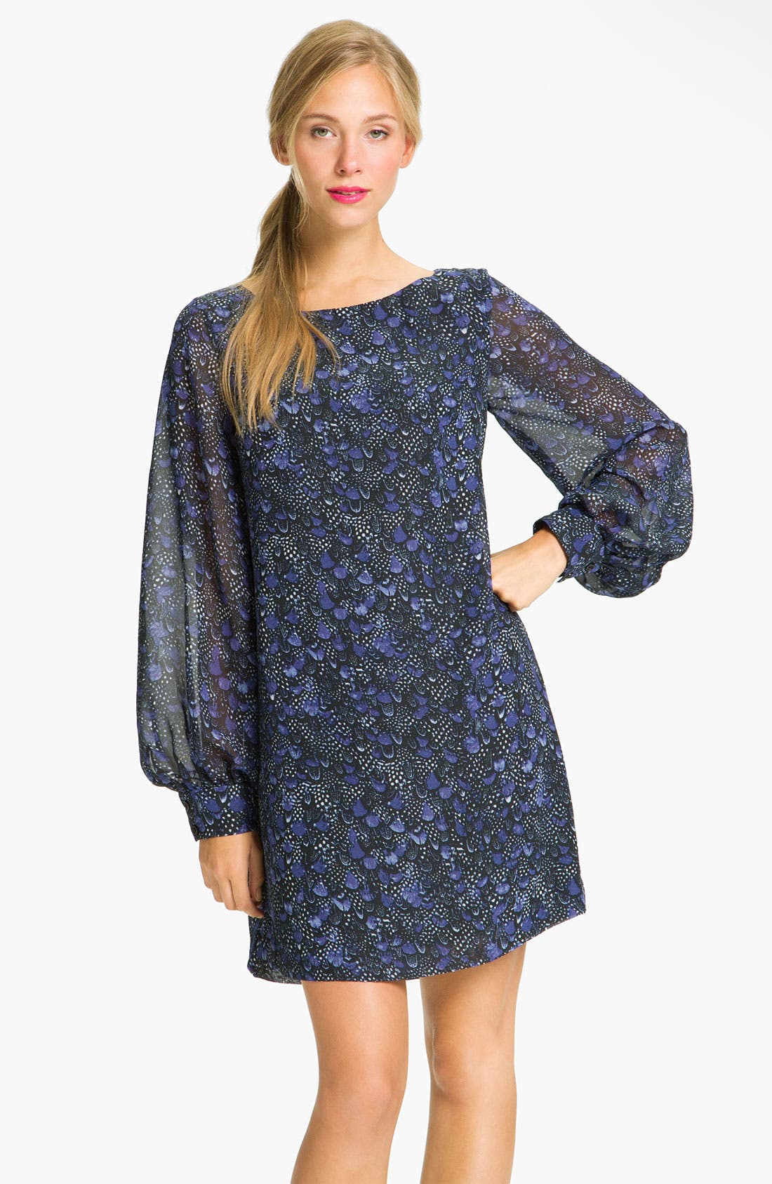 Main Image - Donna Morgan Sheer Blouson Sleeve Shift Dress (Petite)