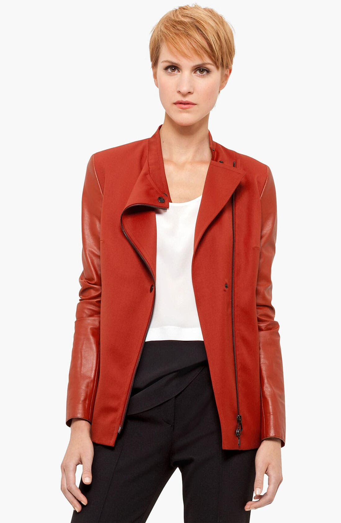 Alternate Image 1 Selected - Akris punto Leather Sleeve Gabardine Jacket