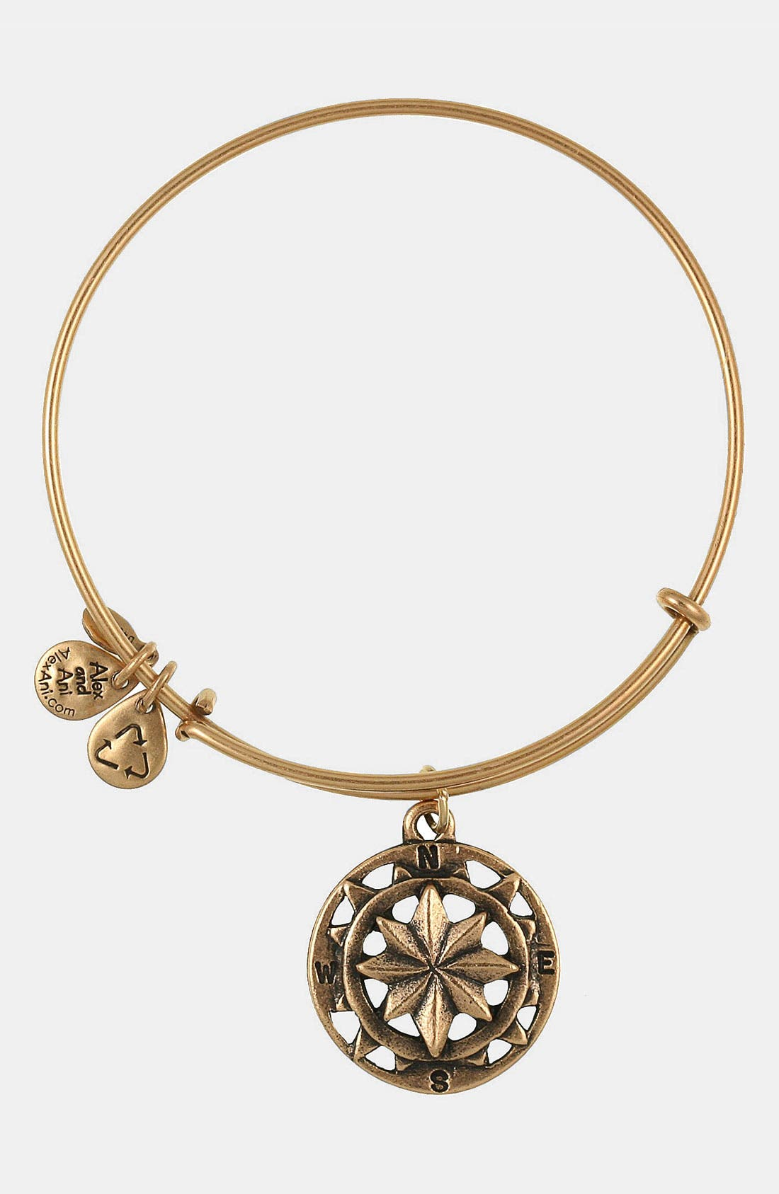 'Compass' Expandable Wire Bangle,                         Main,                         color, Gold