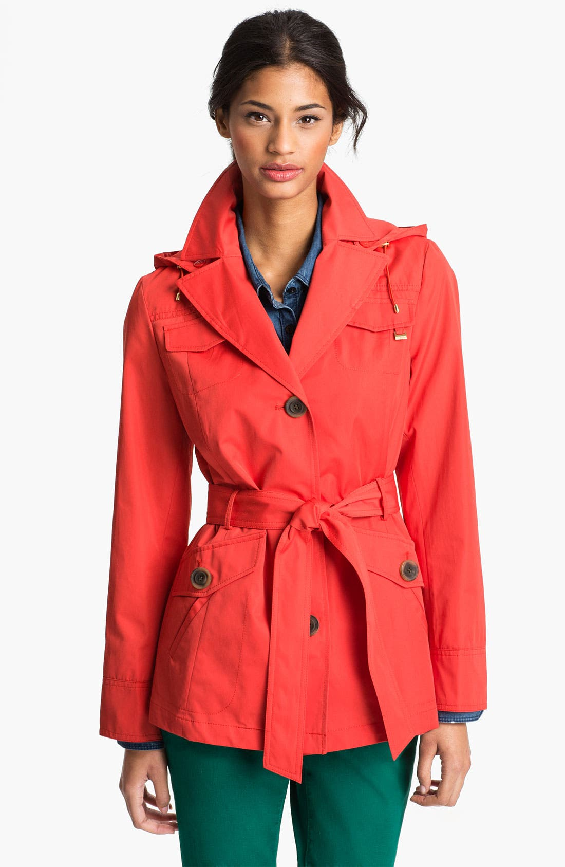 Main Image - Ellen Tracy Short Trench Coat (Nordstrom Exclusive)
