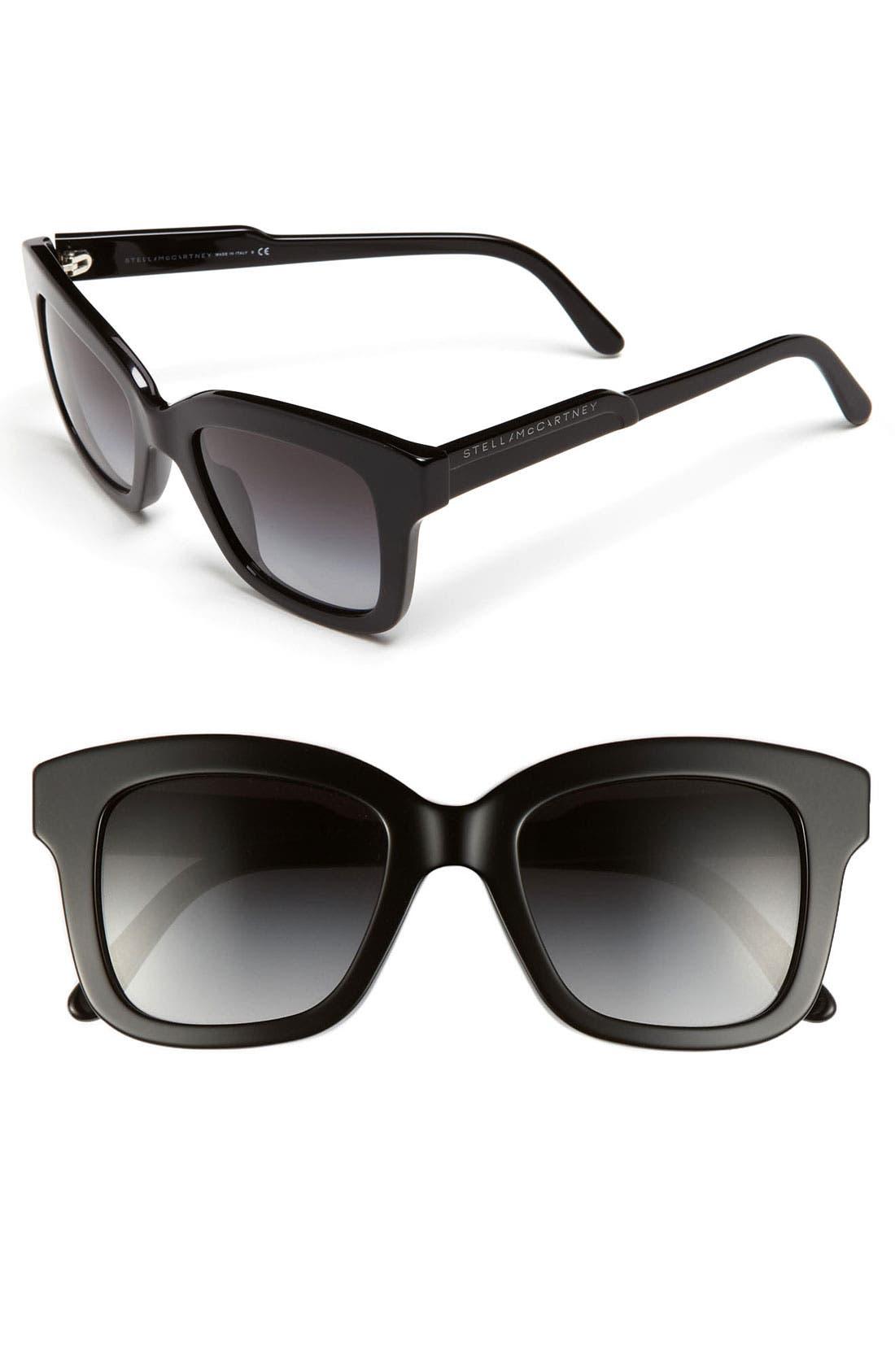 42mm Retro Sunglasses,                             Main thumbnail 1, color,                             Black