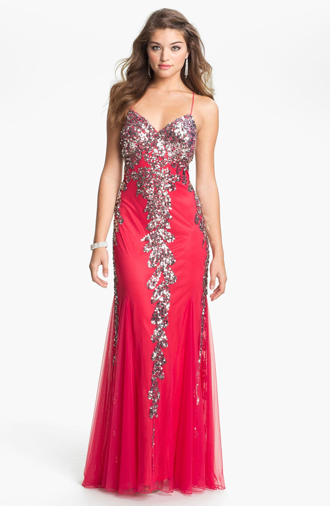 Alternate Image 1 Selected - Faviana Embellished Mesh Gown (Online Exclusive)