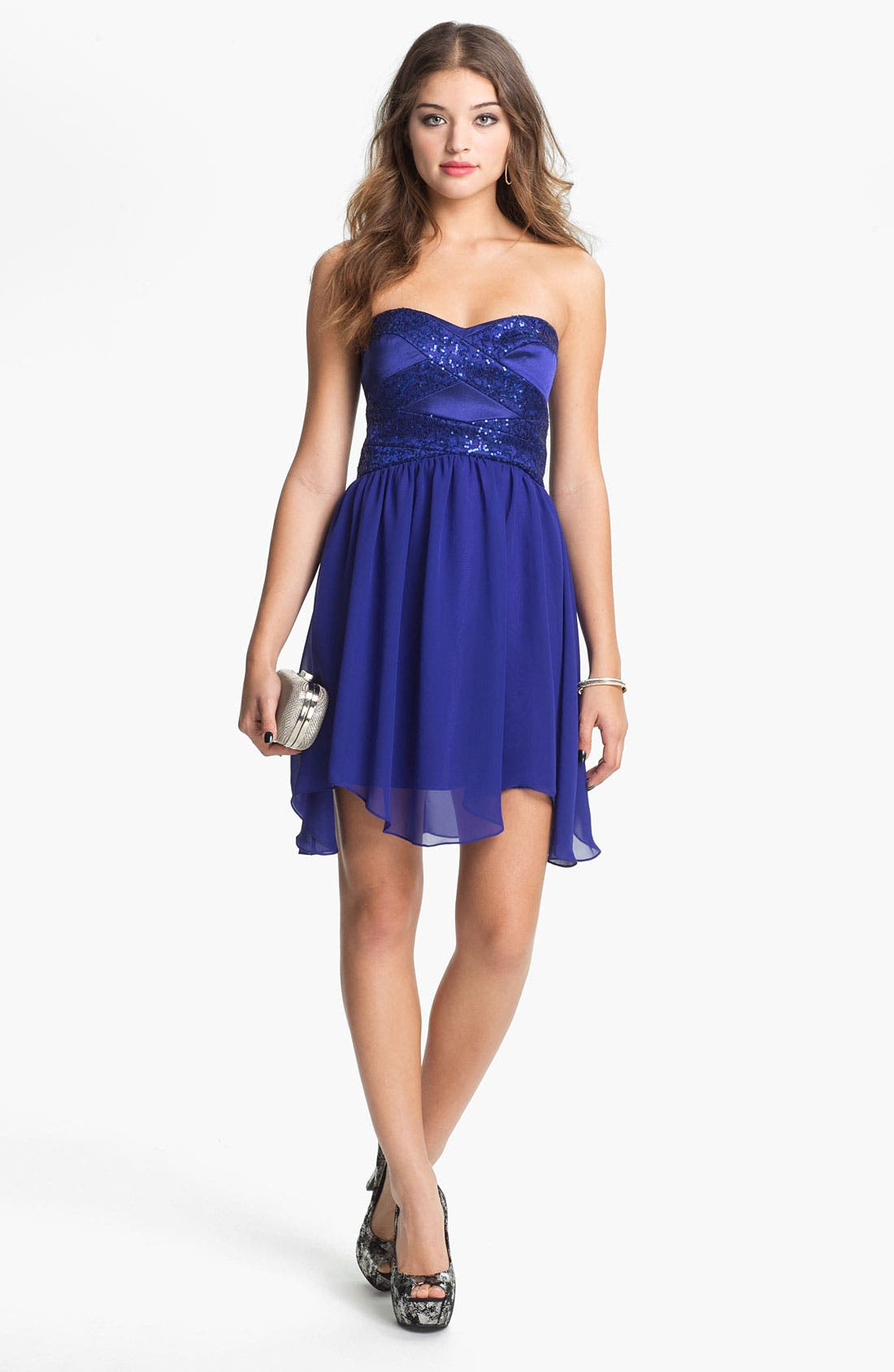 Main Image - Hailey Logan Embellished Fit & Flare Dress (Juniors) (Online Only)