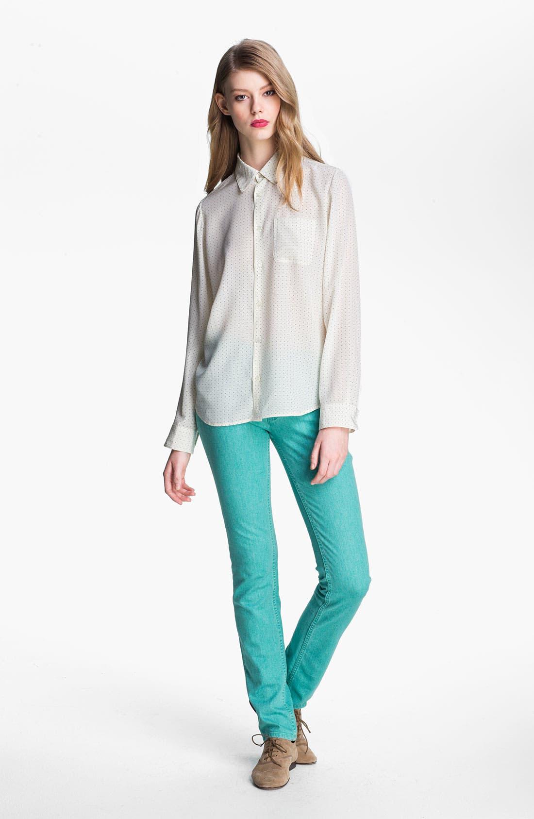 Alternate Image 1 Selected - A.P.C. Long Sleeve Dot Silk Blouse