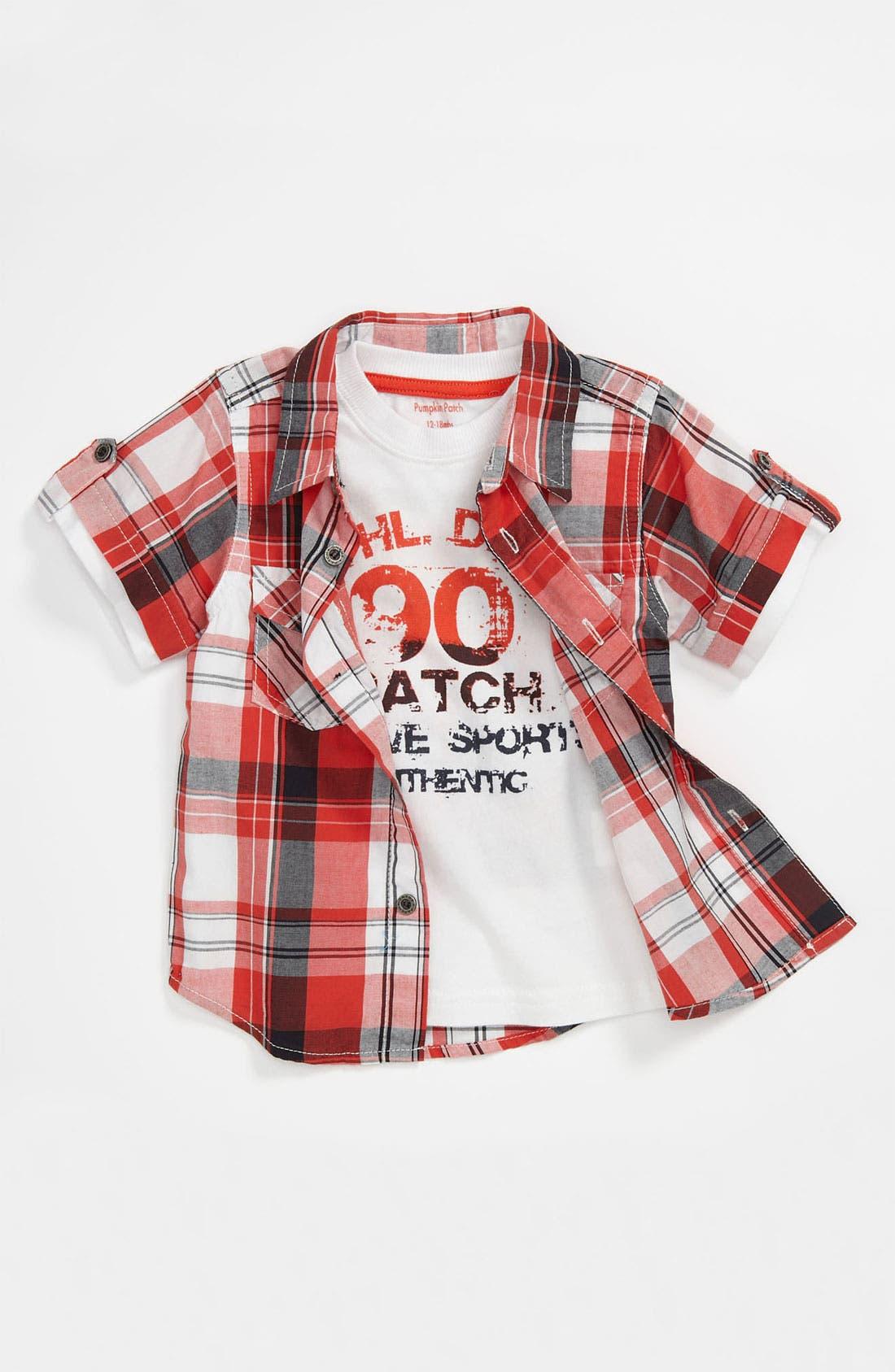 Alternate Image 1 Selected - Pumpkin Patch Gingham Shirt (Toddler)