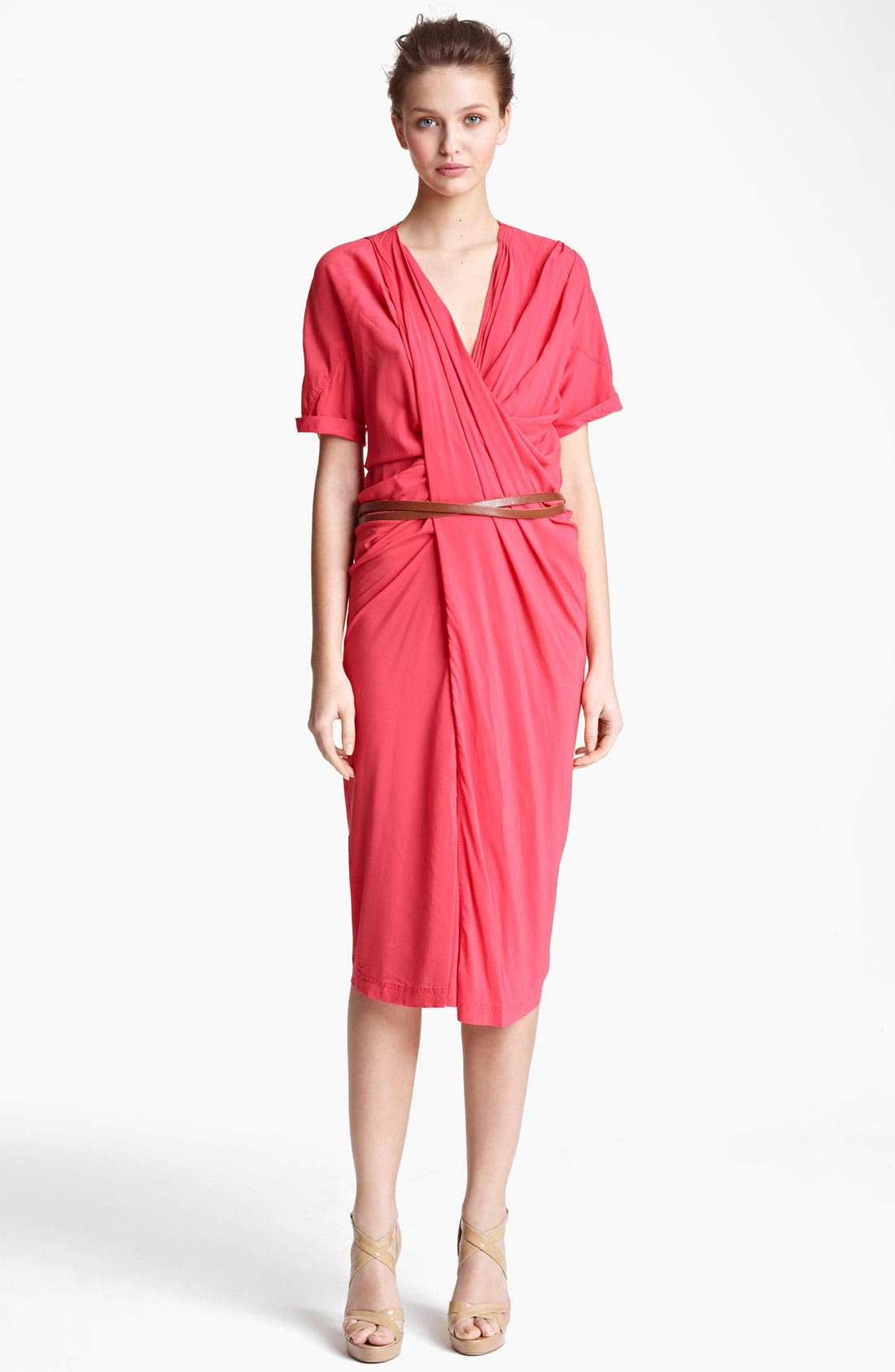 Donna Karan Collection Asymmetrical Draped Crepe Dress,                         Main,                         color, Coral