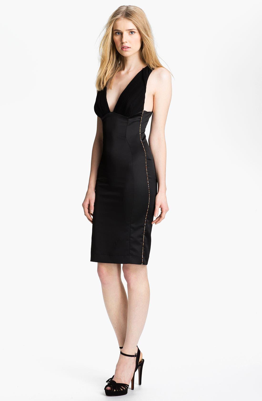 Alternate Image 1 Selected - Just Cavalli Satin & Chiffon Sheath Dress
