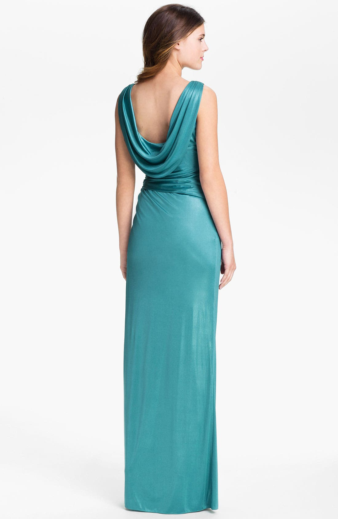 Alternate Image 2  - Adrianna Papell Draped Front Twist Charmeuse Gown