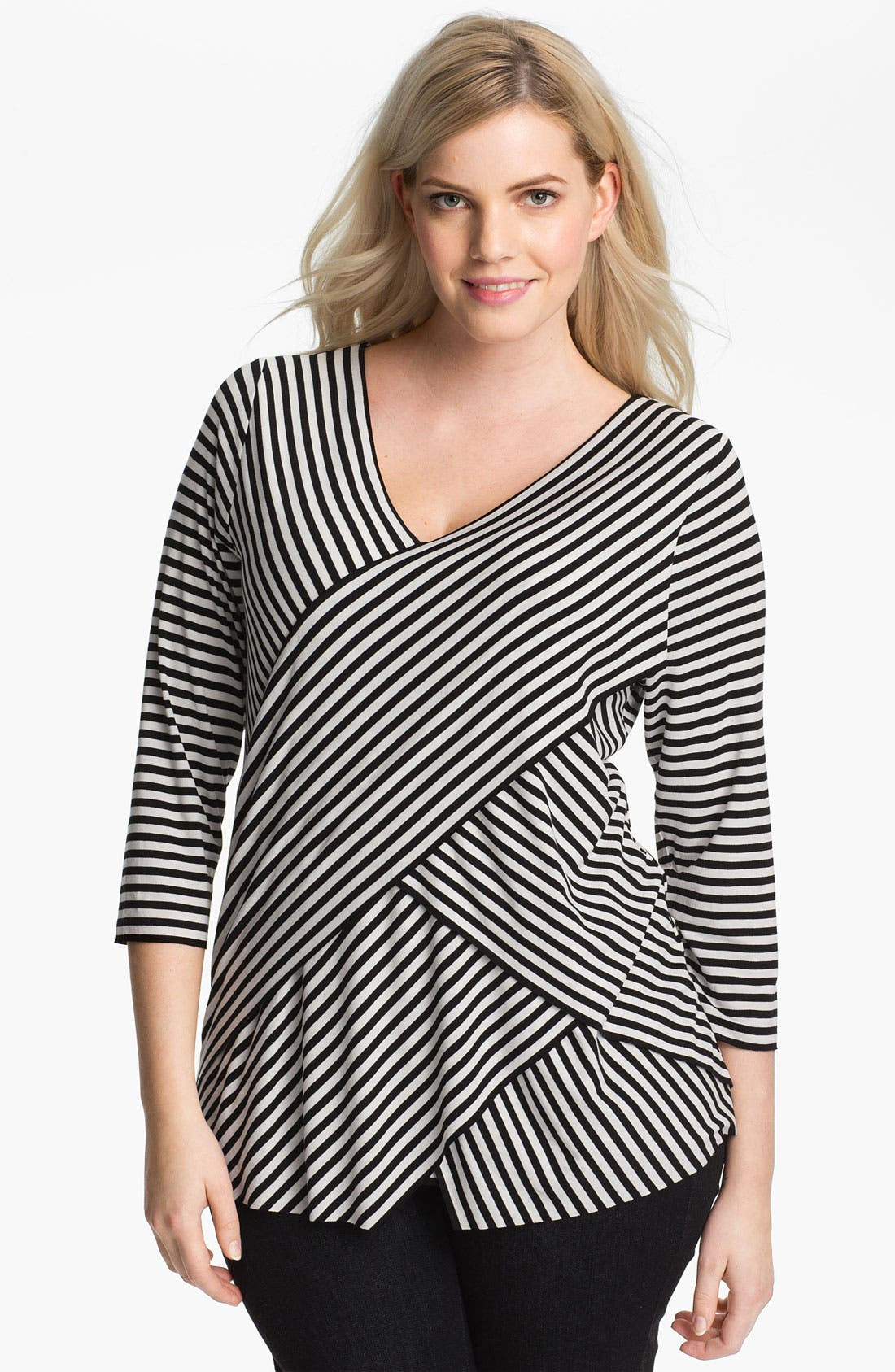 Alternate Image 1 Selected - Vince Camuto Stripe Bandage Top (Plus)