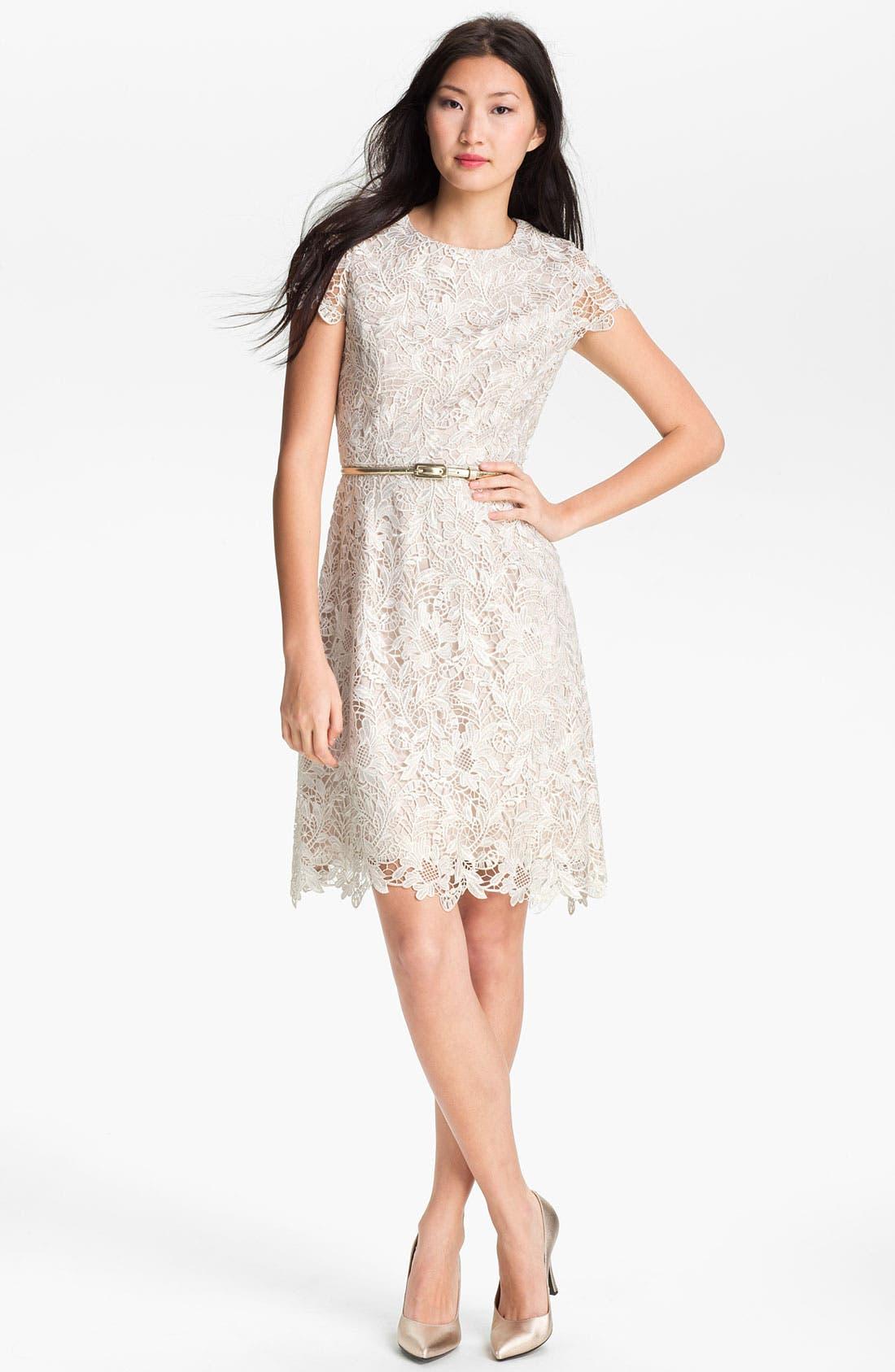 Alternate Image 1 Selected - Eliza J Belted Lace Dress
