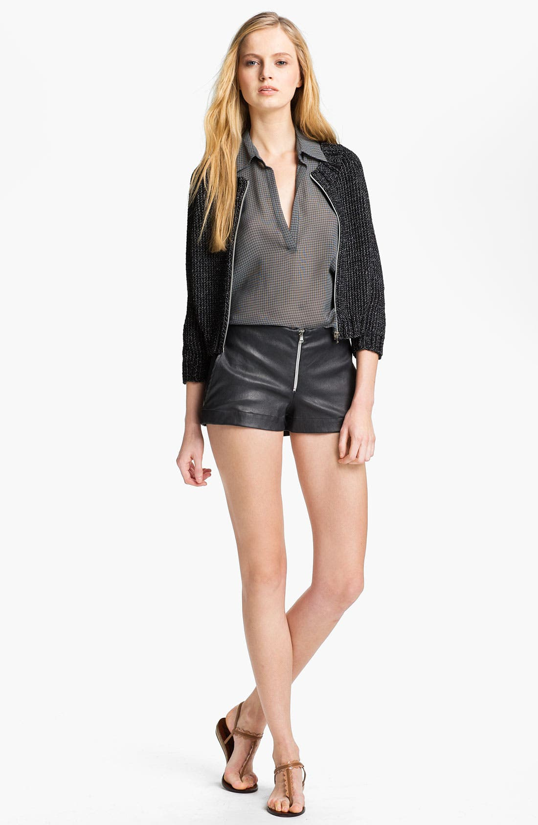 Main Image - L'AGENCE Zip Front Crop Sweater