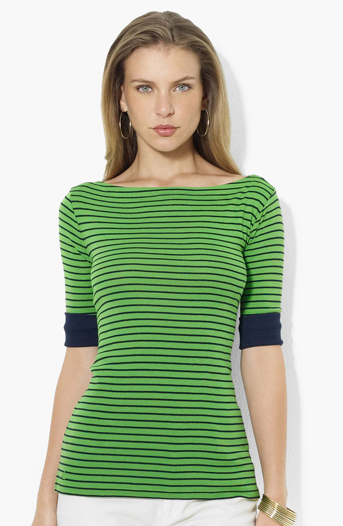 Alternate Image 1 Selected - Lauren Ralph Lauren Elbow Sleeve Stripe Top