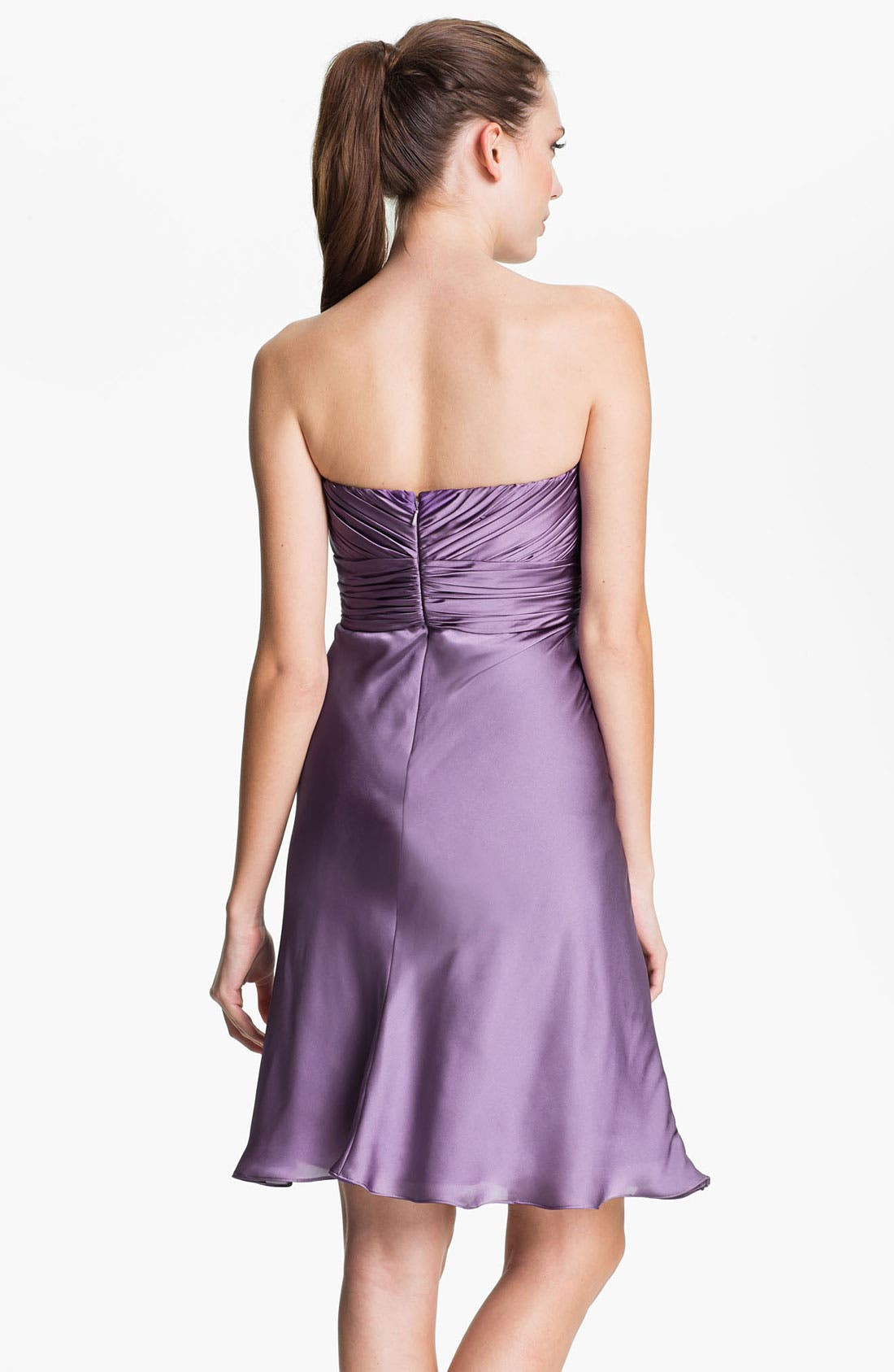 Alternate Image 2  - ML Monique Lhuillier Bridesmaids Strapless Drape Detail Charmeuse Dress (Nordstrom Exclusive)