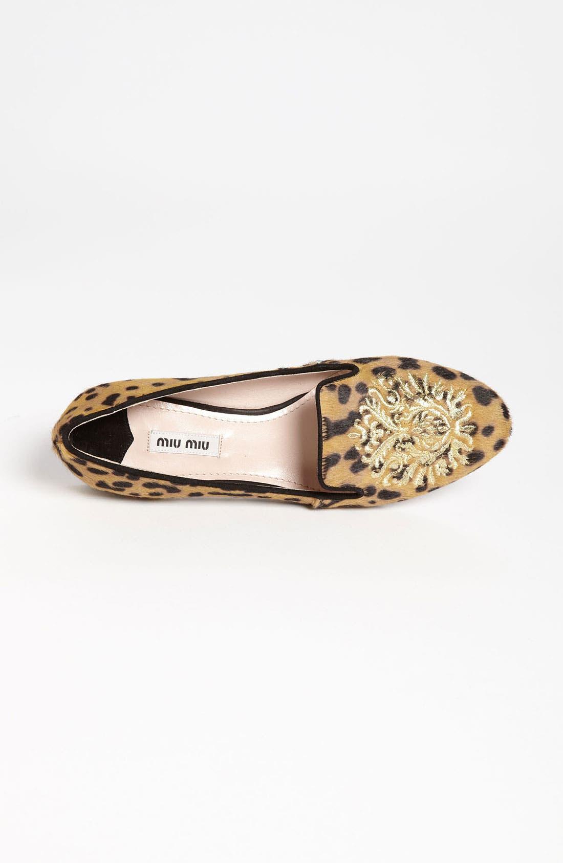 Alternate Image 3  - Miu Miu Leopard Crest Smoking Flat