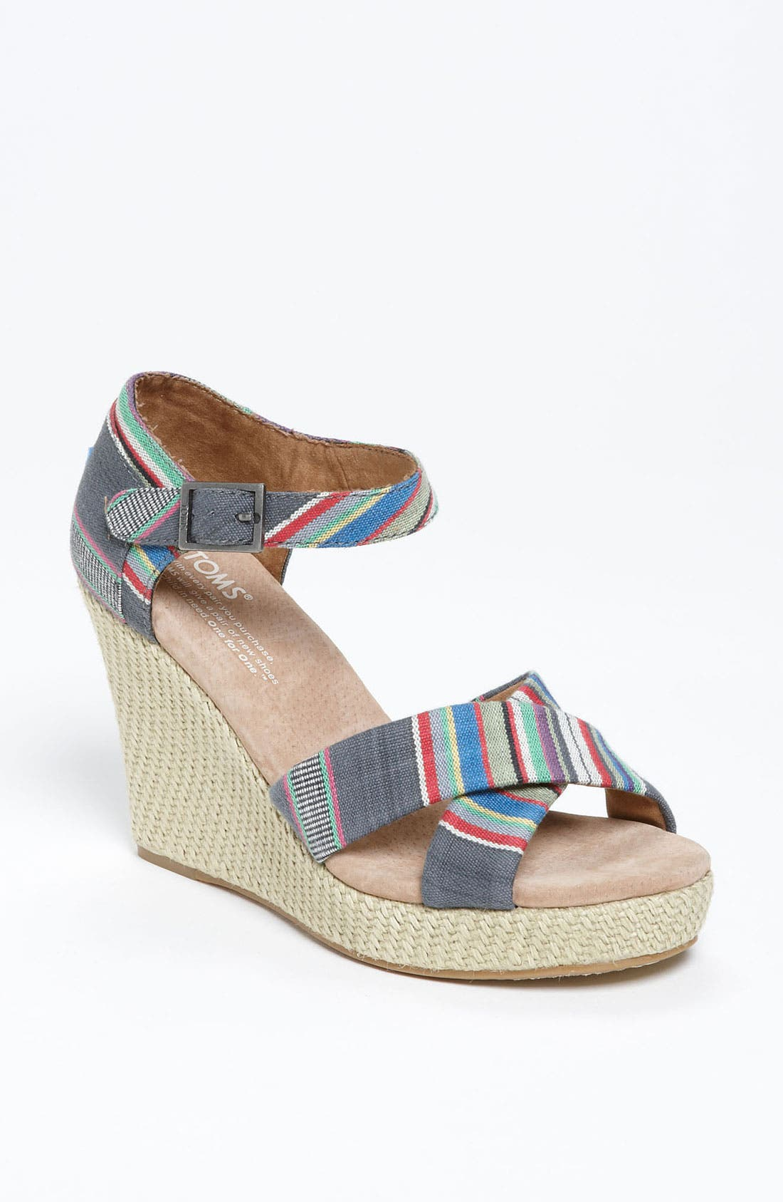 Main Image - TOMS Denim Stripe Wedge Sandal