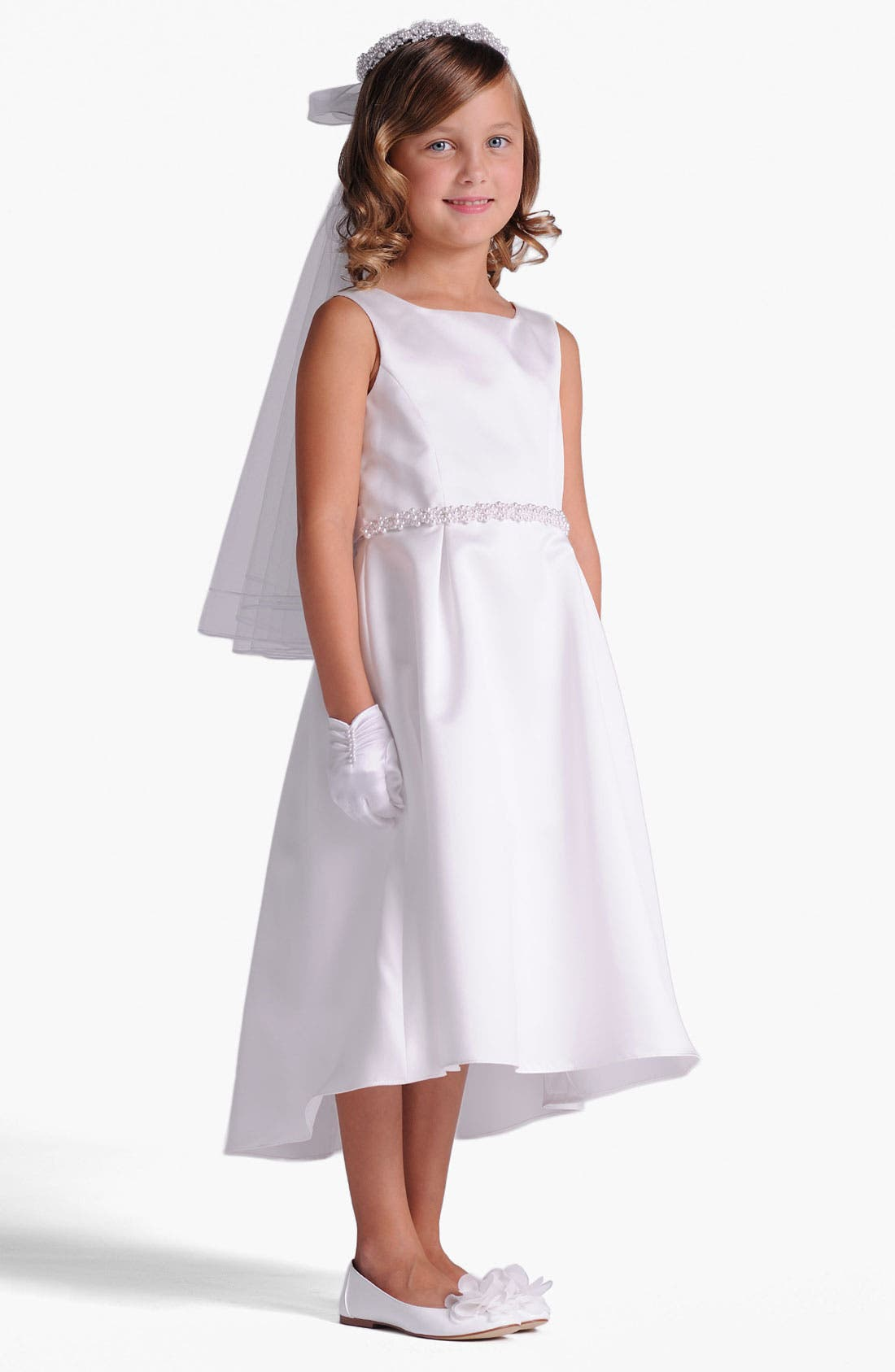 Satin Dress,                         Main,                         color, White
