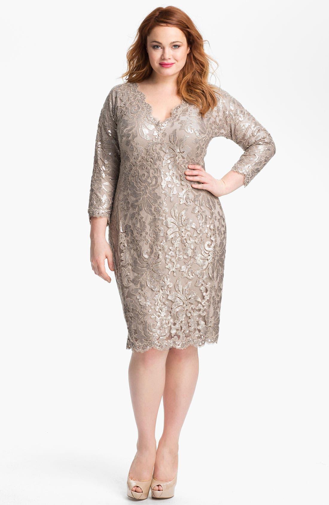 Alternate Image 1 Selected - Tadashi Shoji Metallic Jacquard Tulle & Lace Dress (Plus Size)