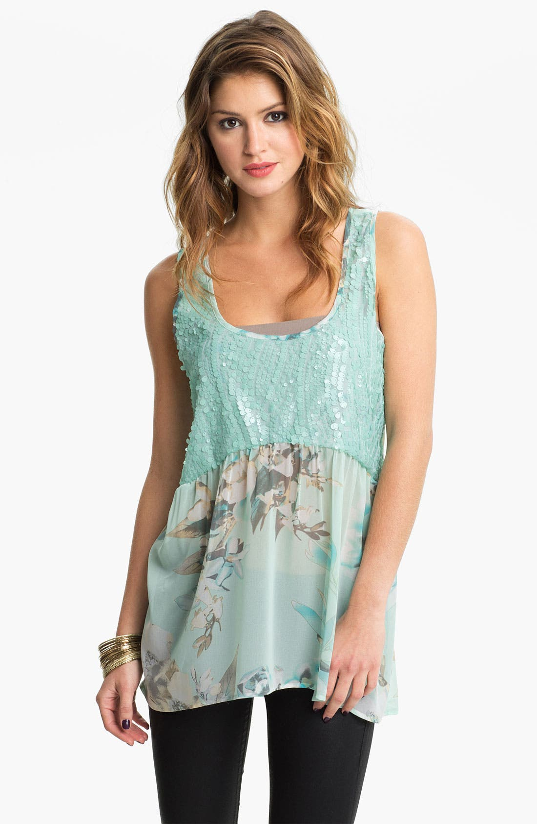 Main Image - Love Squared Sequin & Chiffon Tank (Juniors)