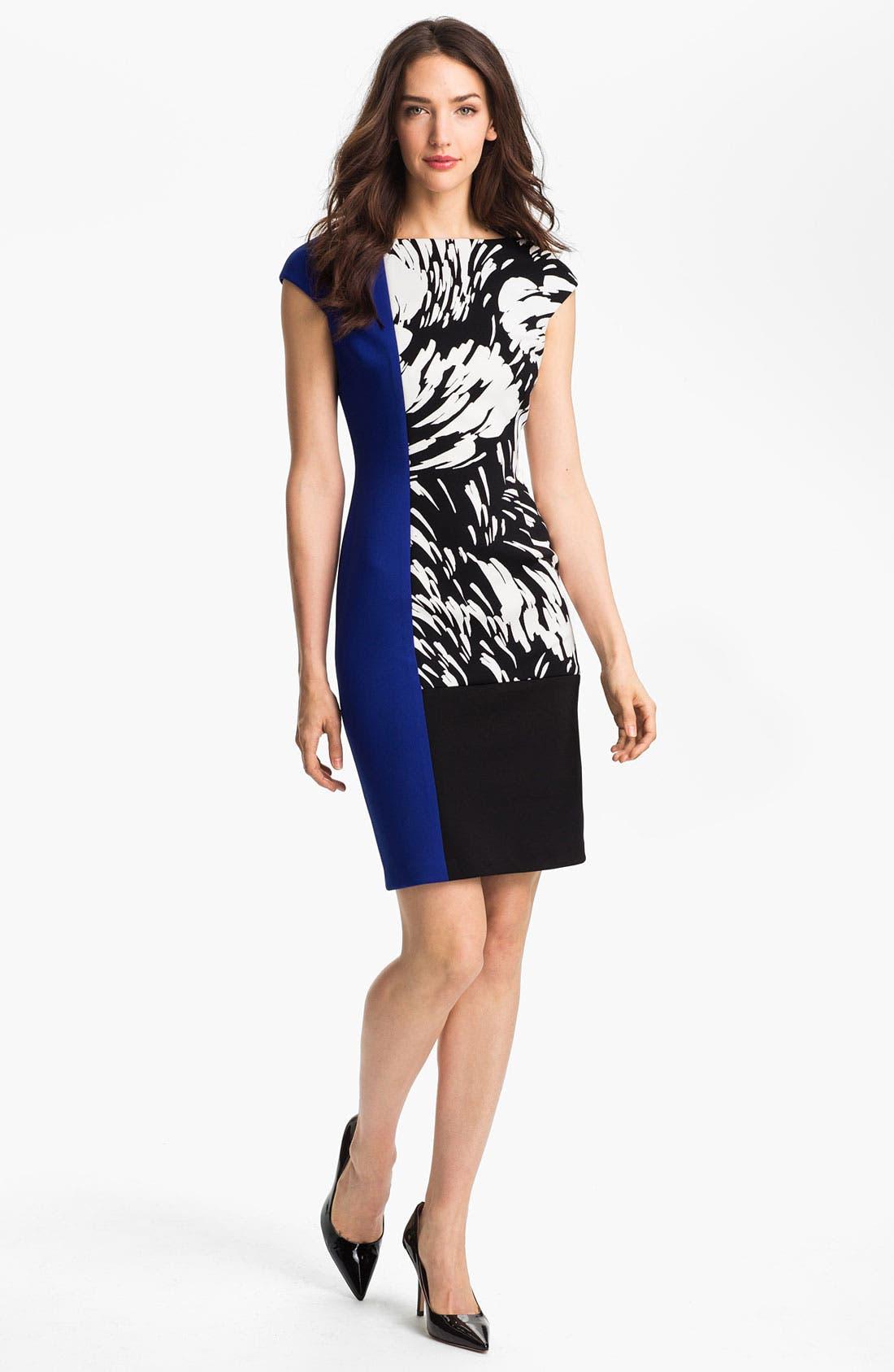 Alternate Image 1 Selected - Maggy London Colorblock Print Sheath Dress