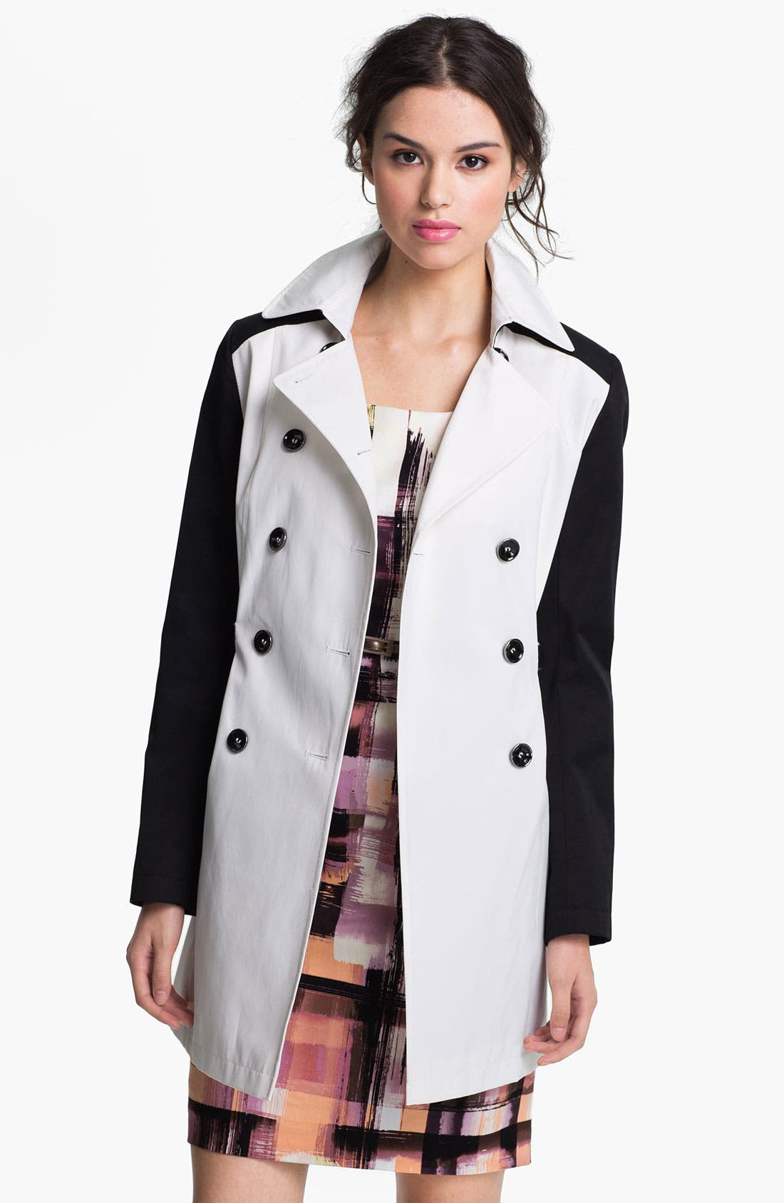 Alternate Image 2  - DKNY Two Tone Trench Coat (Online Only)