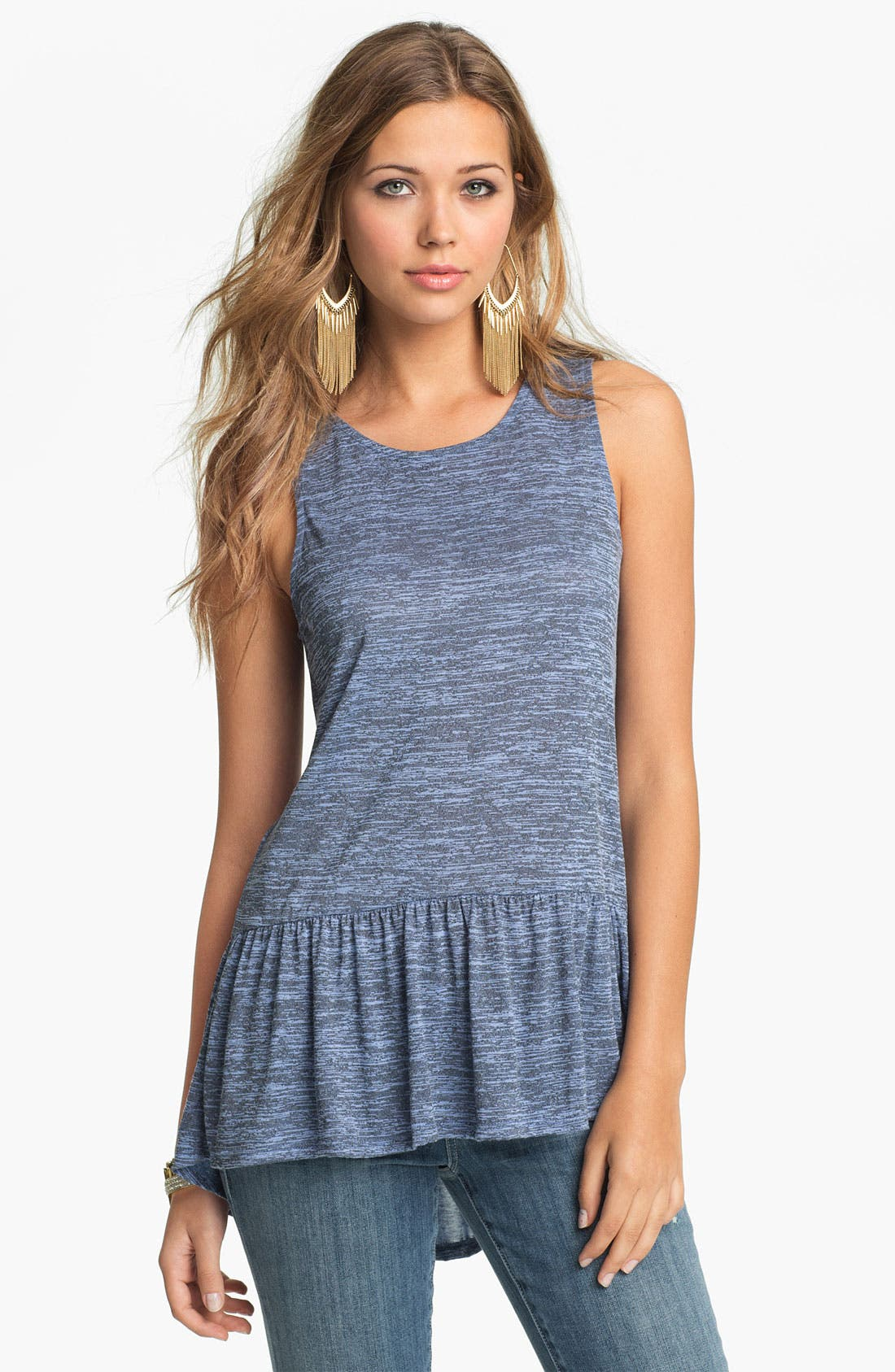 Alternate Image 1 Selected - h.i.p. Space Dyed Peplum Tank (Juniors)