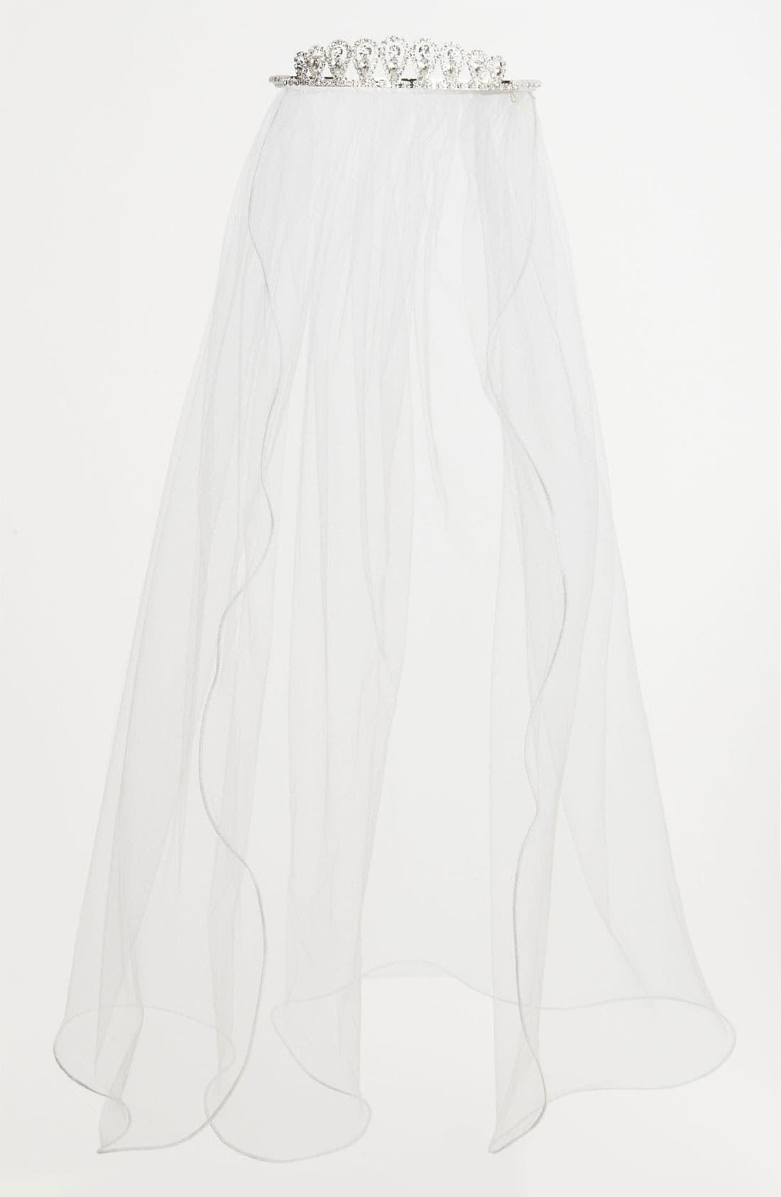 Alternate Image 1 Selected - Adriana Cupelli Rhinestone Tiara Veil (Girls)