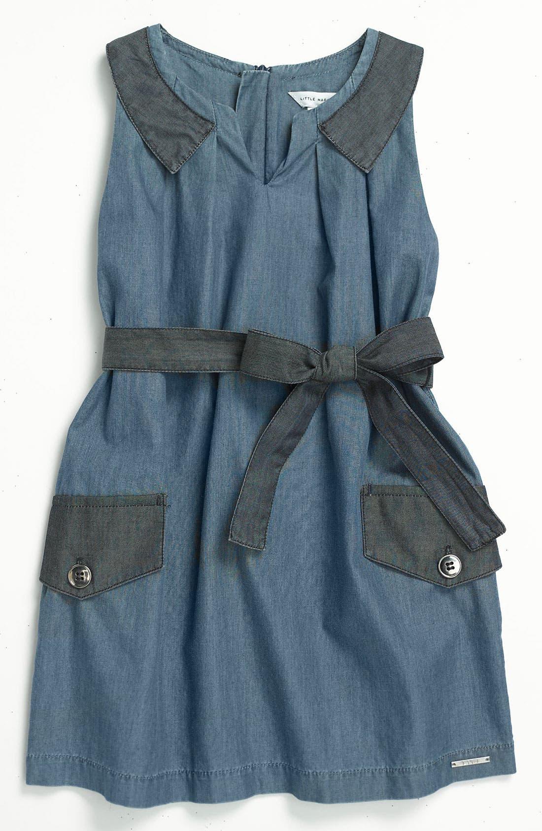 Alternate Image 1 Selected - LITTLE MARC JACOBS Sleeveless Chambray Dress (Little Girls & Big Girls)