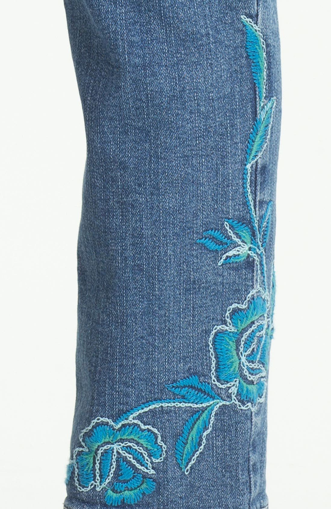 Alternate Image 3  - NYDJ 'Alisha' Embroidered Skinny Stretch Ankle Jeans