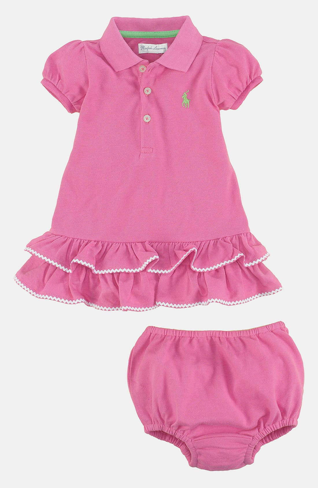 Alternate Image 2  - Ralph Lauren Rickrack Polo Dress & Bloomers (Baby)