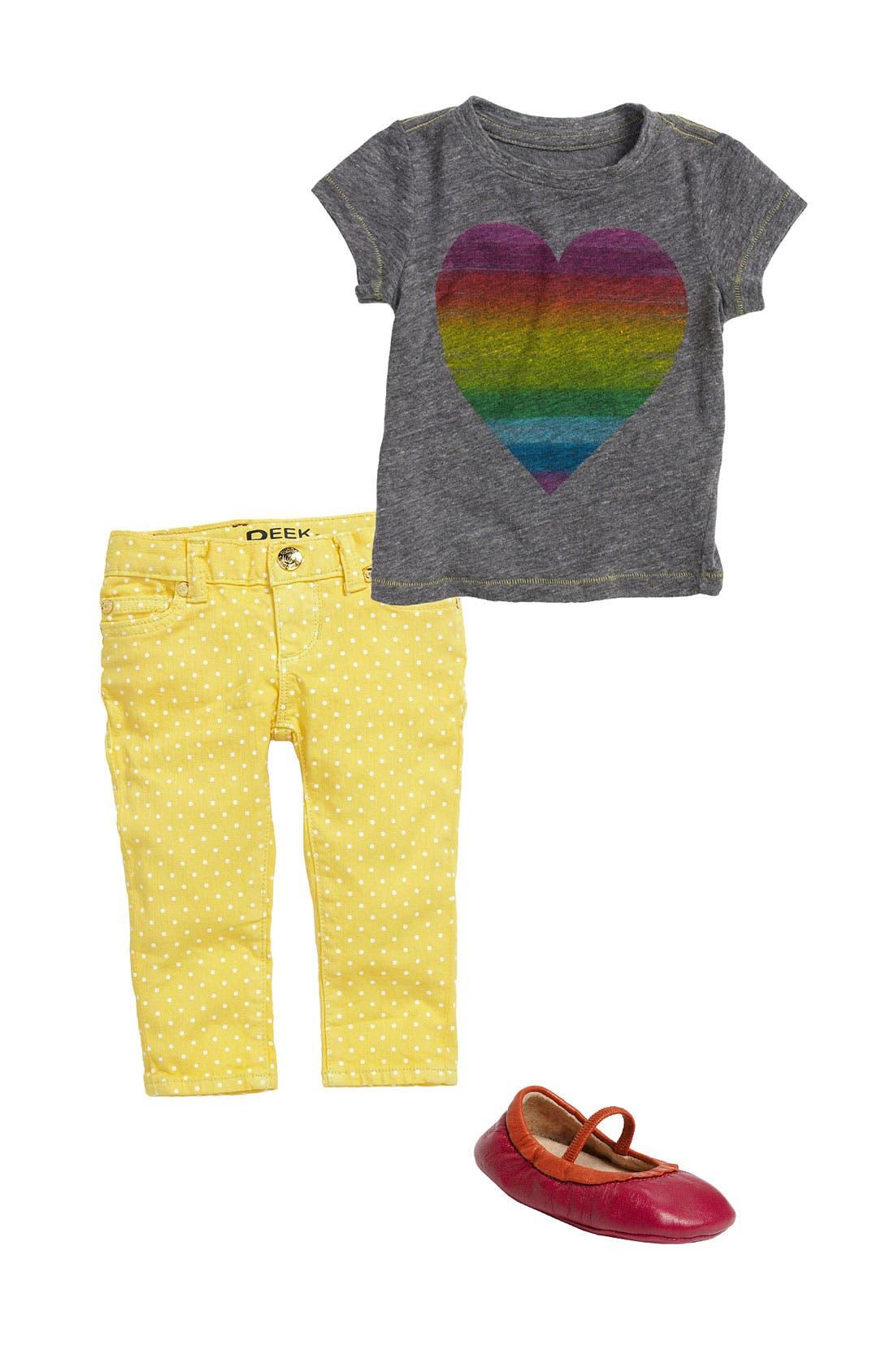 Alternate Image 1 Selected - Peek Tee, Skinny Jeans & Crib Shoe (Infant)