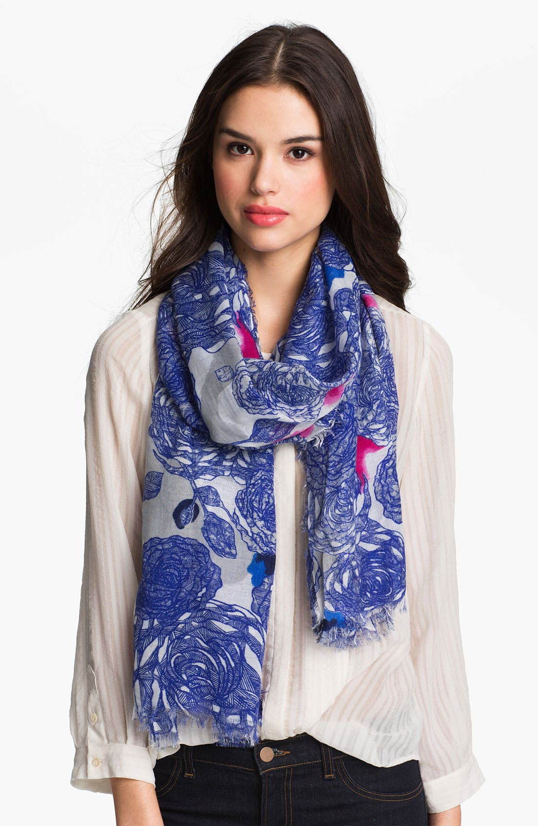 Alternate Image 1 Selected - Halogen® 'Inked Floral' Scarf