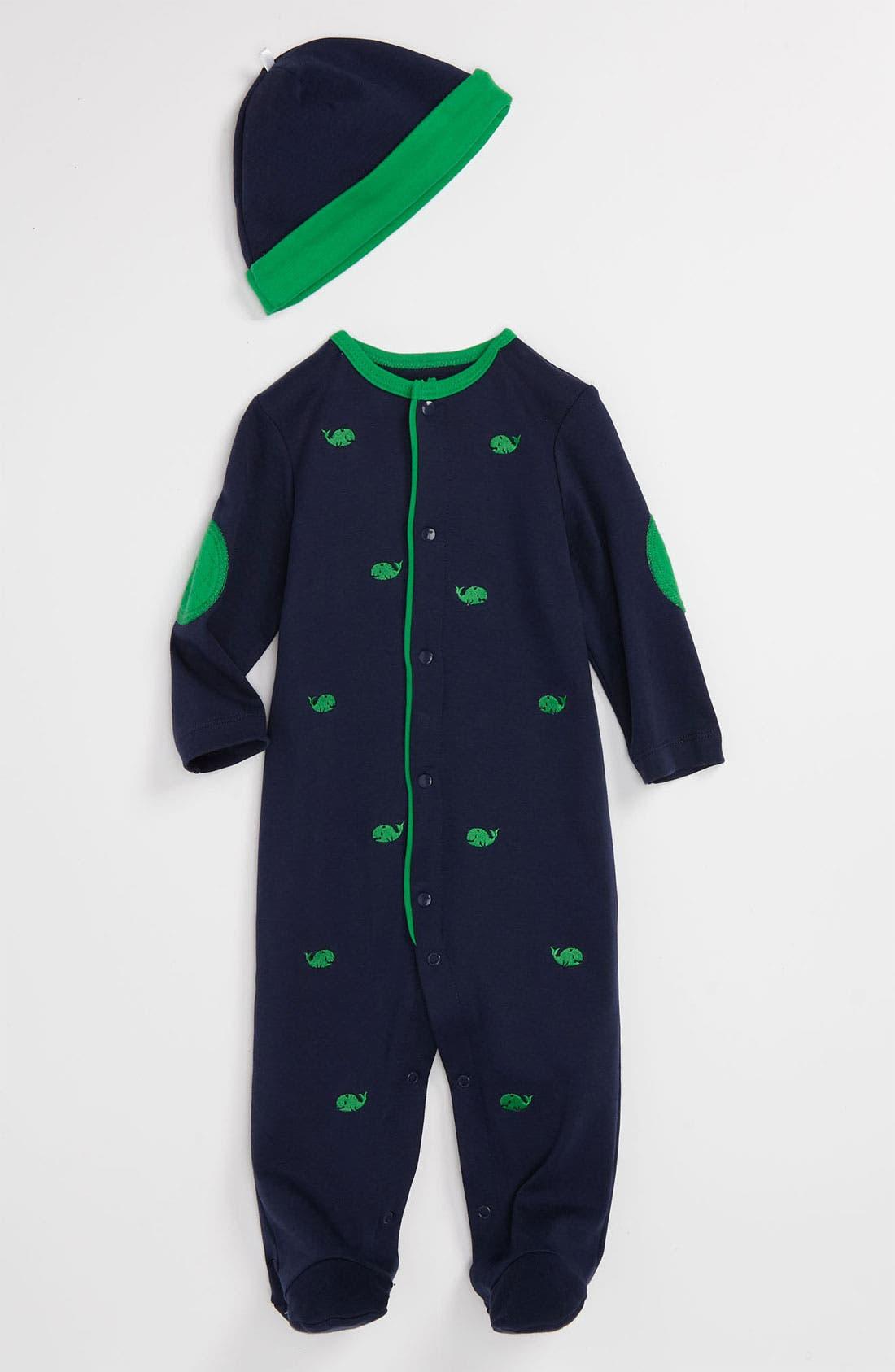 Main Image - Little Me 'Whales' Footie & Hat (Infant)