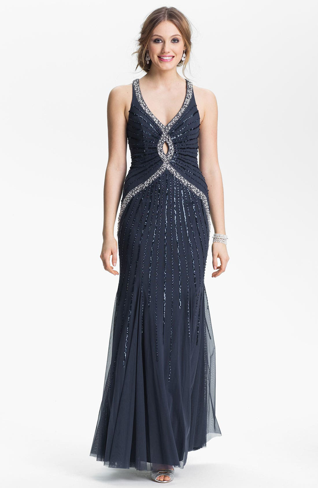 Main Image - Sean Collection Embellished Mesh Gown (Online Only)