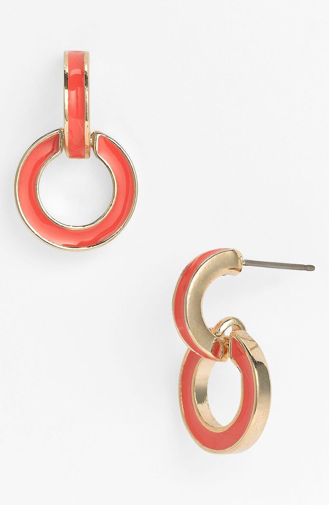 Main Image - Anne Klein Enamel Door Knocker Earrings