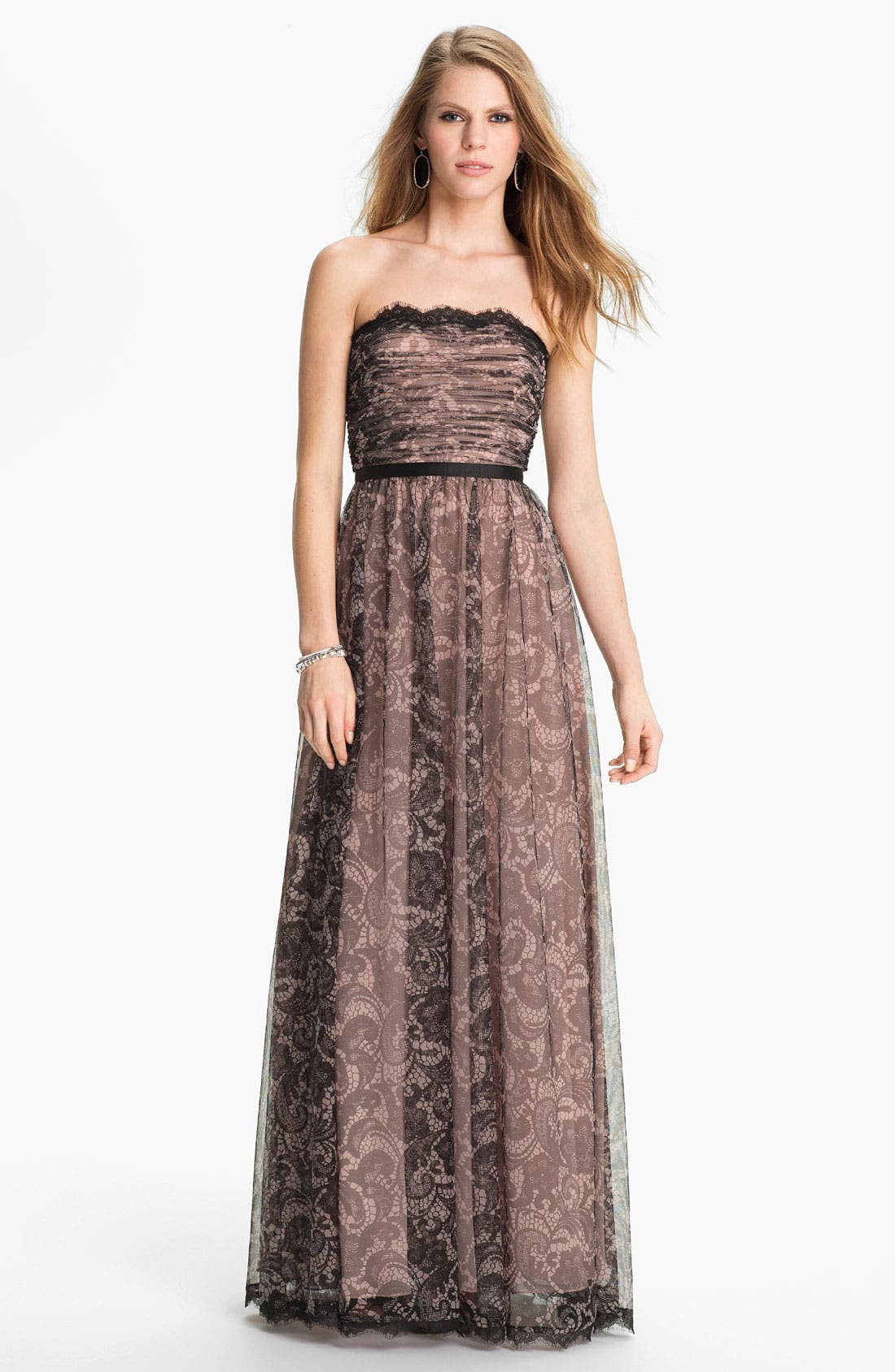 Main Image - Adrianna Papell Lace Print Tulle Gown