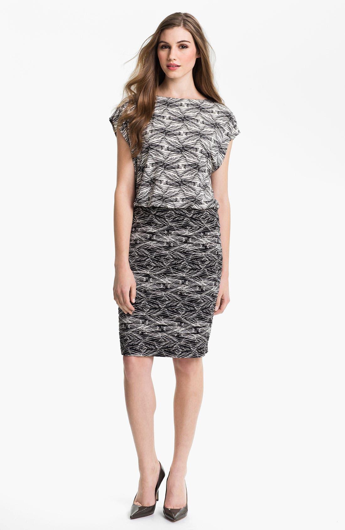 Main Image - Adrianna Papell Print Jersey Blouson Dress