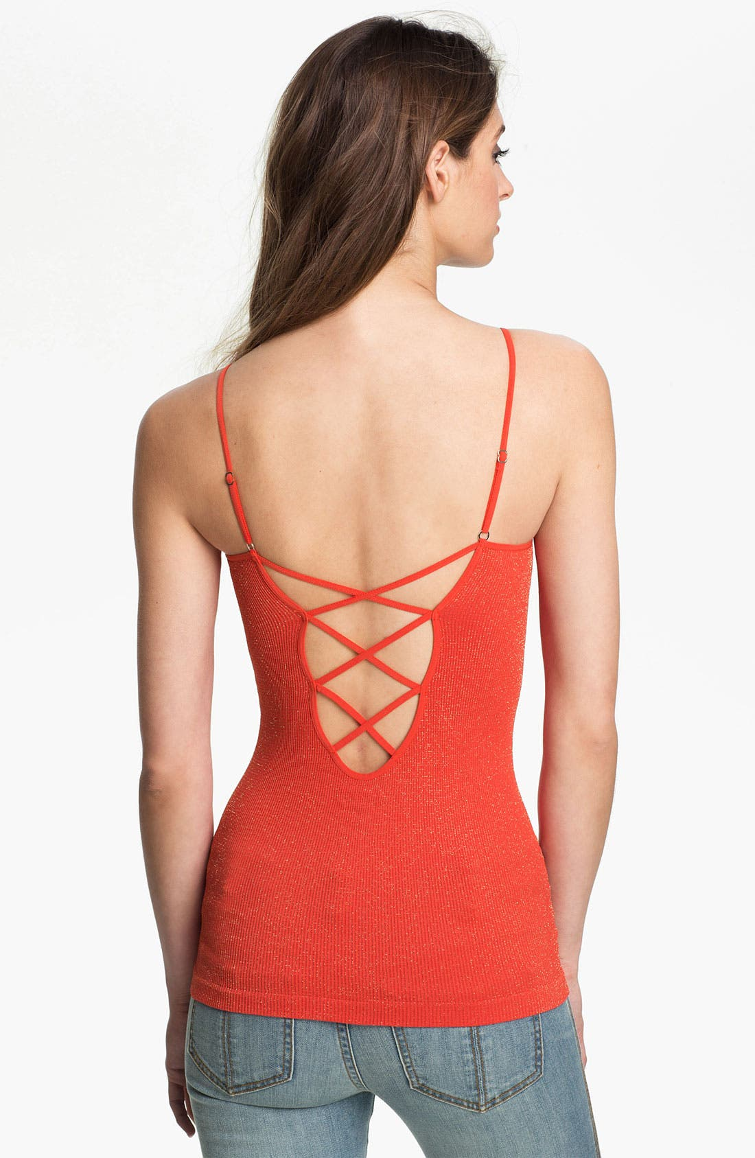 Seamless Caged Back Camisole,                             Main thumbnail 1, color,                             Red