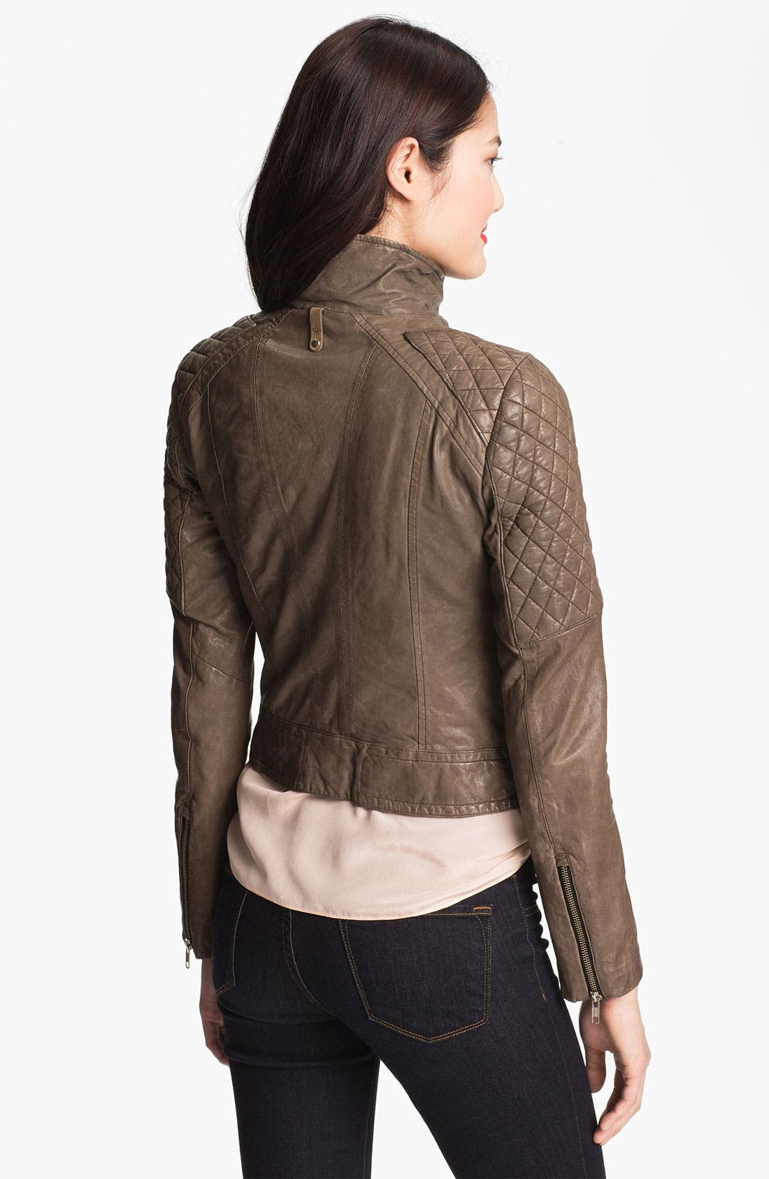 Alternate Image 3  - Mackage Quilt Trim Leather Moto Jacket