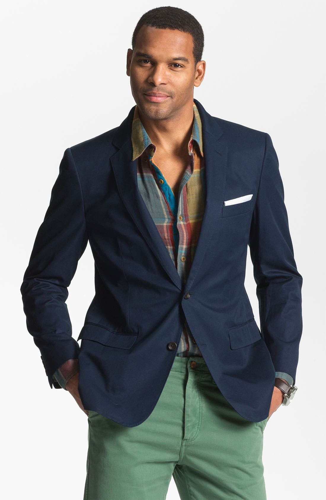 Cotton Blazer,                             Main thumbnail 1, color,                             Navy