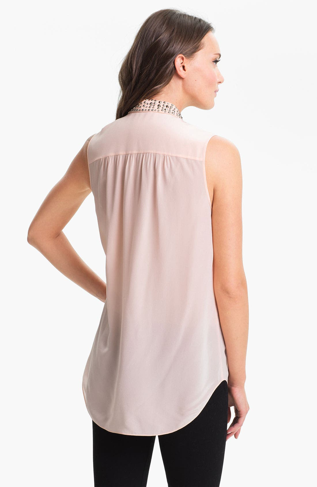 Alternate Image 2  - Rebecca Taylor Stud Collar Silk Top