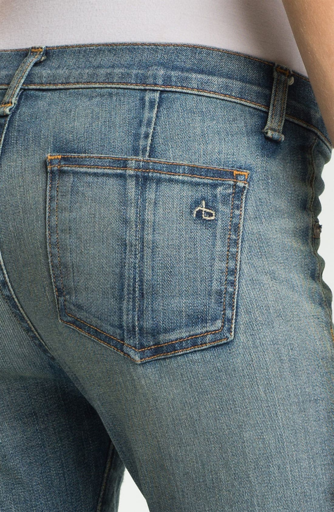 Alternate Image 8  - rag & bone/JEAN Slim Leather & Denim Jeans