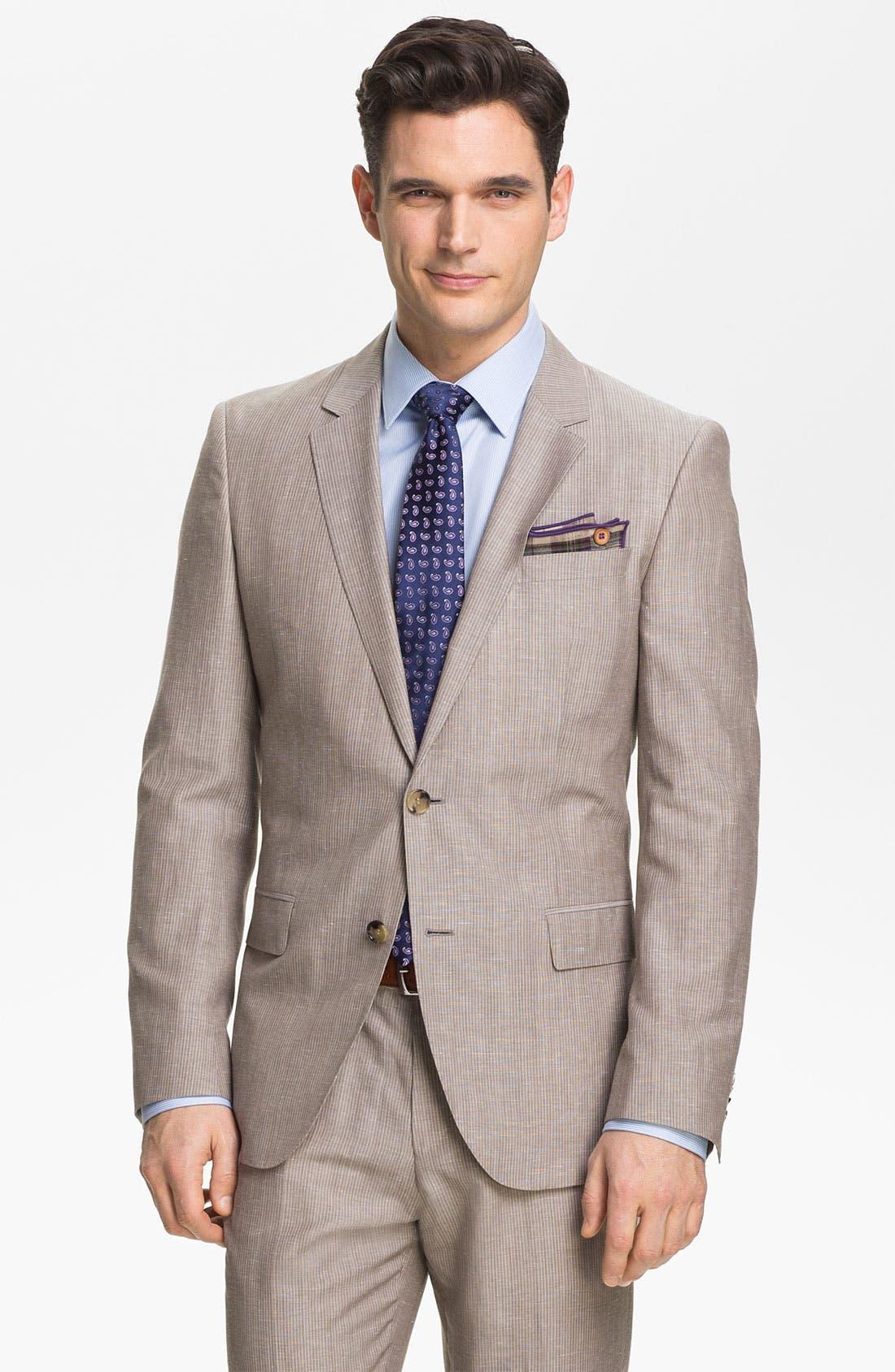 Main Image - BOSS Black 'Hedge/Gense' Trim Fit Stripe Suit