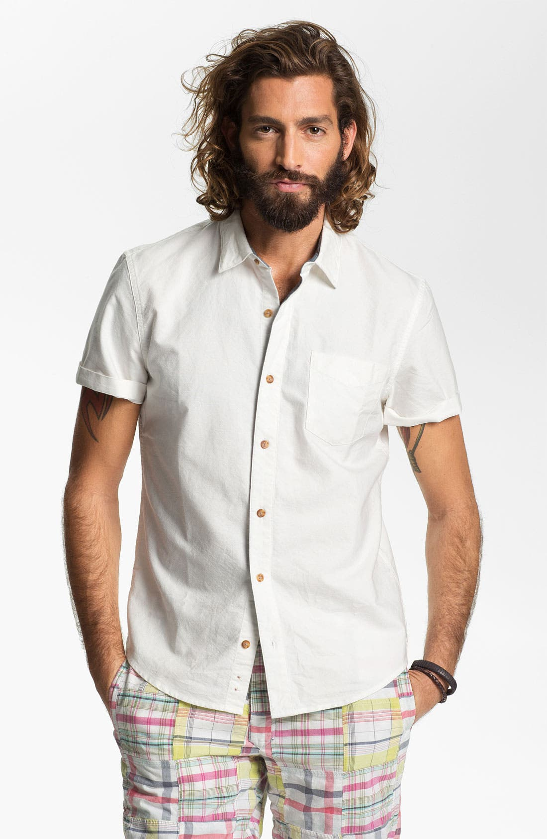 Main Image - 1901 Trim Fit Short Sleeve Oxford Sport Shirt