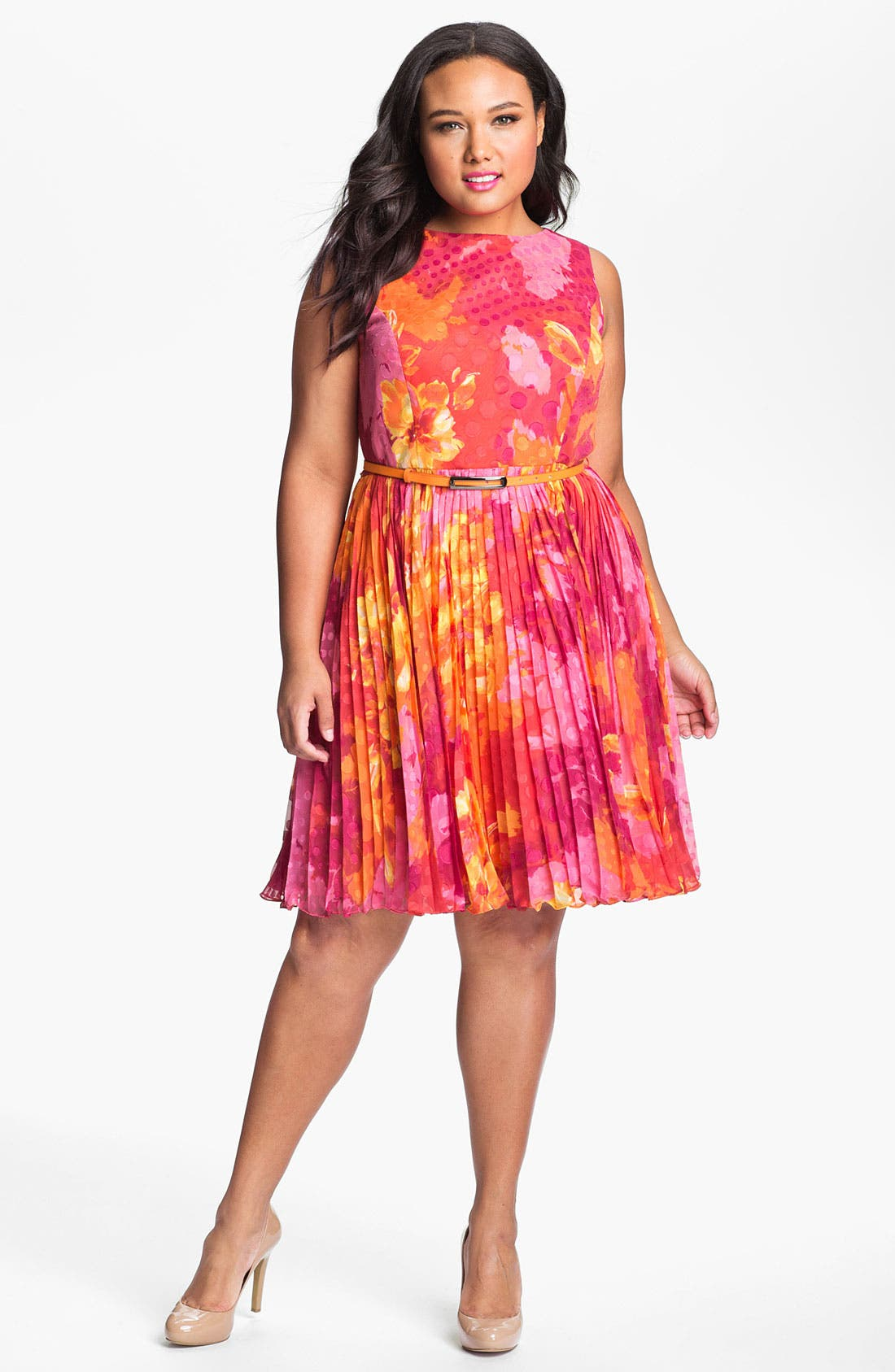 Main Image - Adrianna Papell Print Fit & Flare Dress (Plus Size)