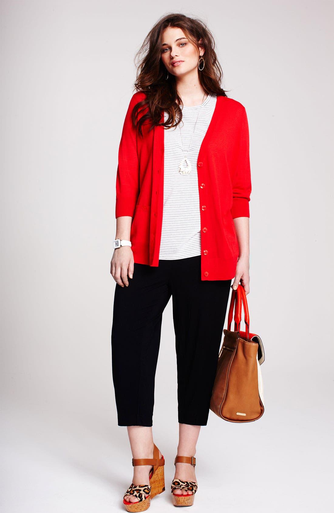 Alternate Image 4  - Sejour Jersey Knit Crop Pants (Plus Size)