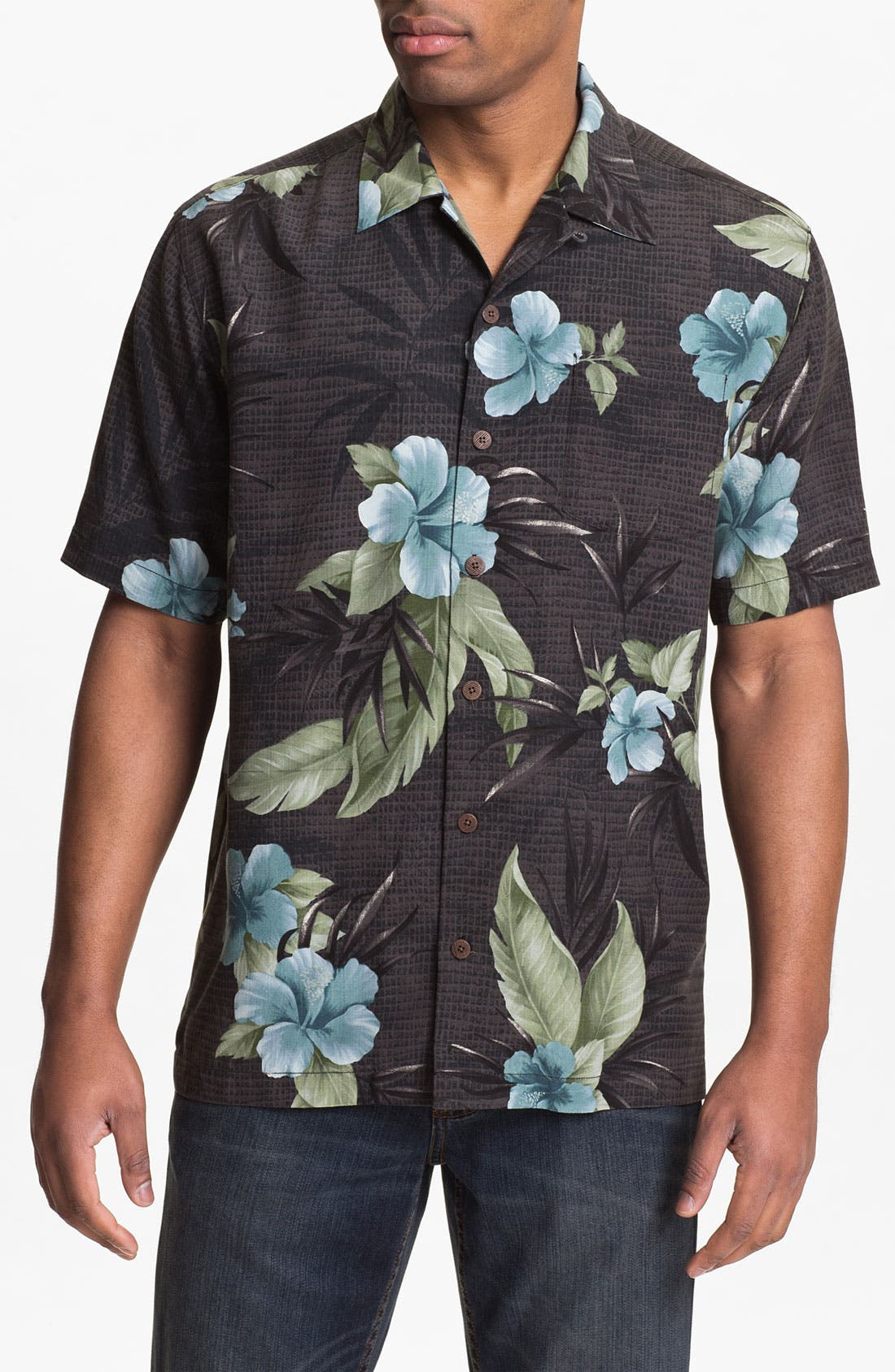 Main Image - Tommy Bahama 'Tropical Mosaic' Silk Campshirt (Big & Tall)