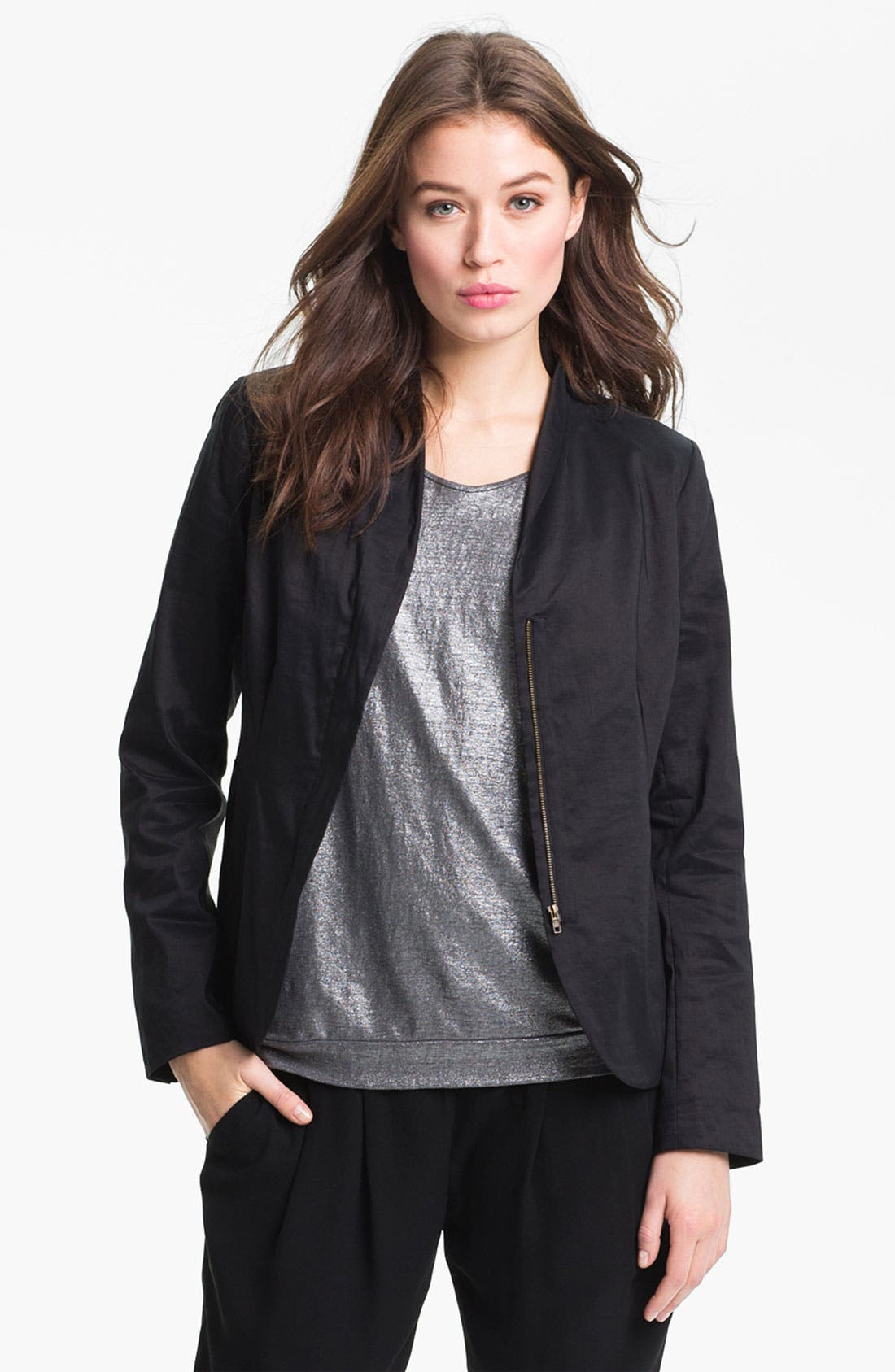 Alternate Image 1 Selected - Eileen Fisher High Collar Peplum Jacket