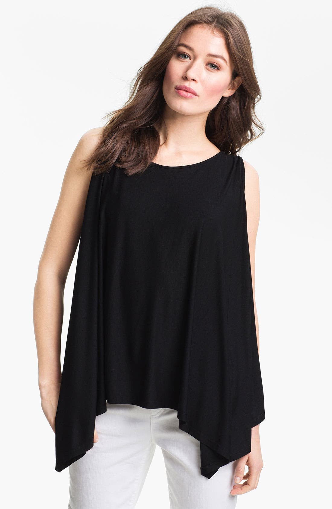 Alternate Image 1 Selected - Eileen Fisher Ballet Neck Poncho Jersey Top