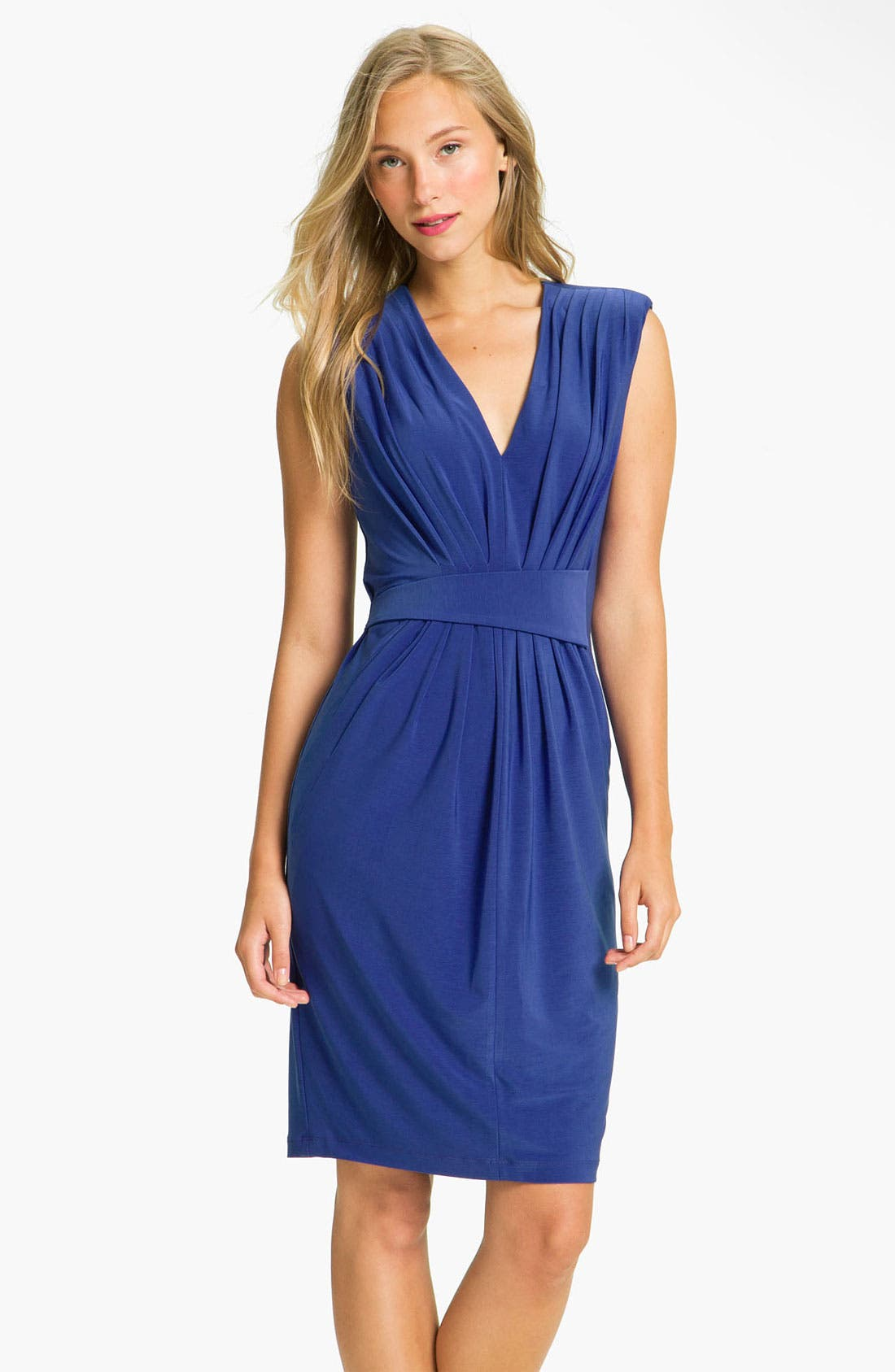 Alternate Image 1 Selected - Alex & Ava Pleated Jersey Sheath Dress